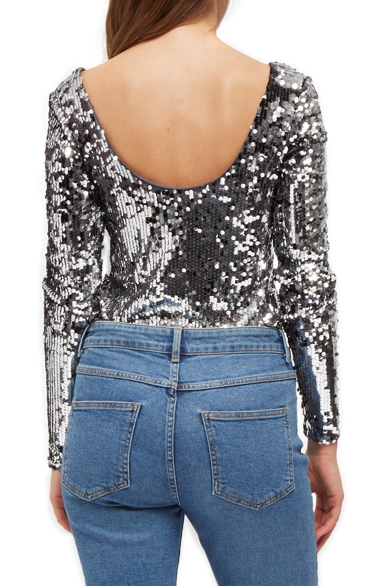 FRENCH CONNECTION,                             Zena Sequin Top,                             Alternate thumbnail 2, color,                             020