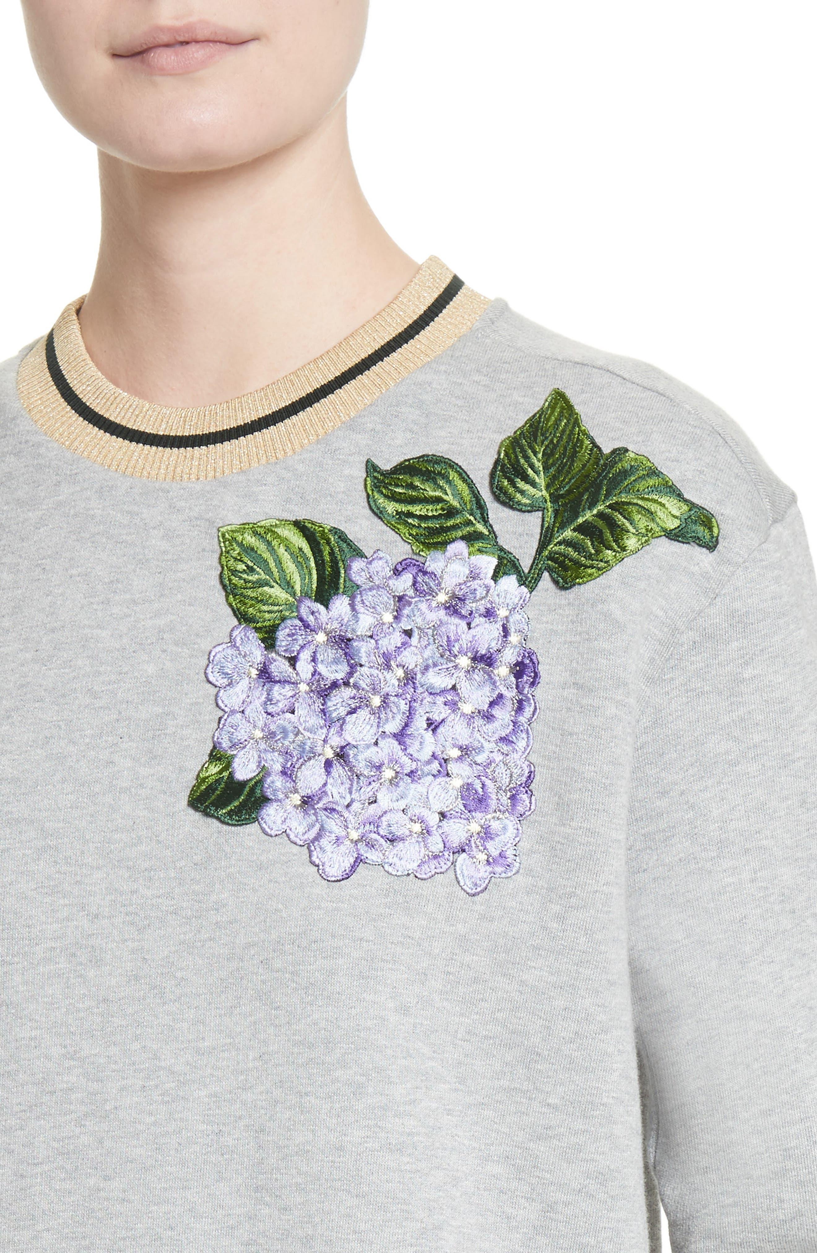 Hydrangea Patch Sweatshirt,                             Alternate thumbnail 4, color,                             050
