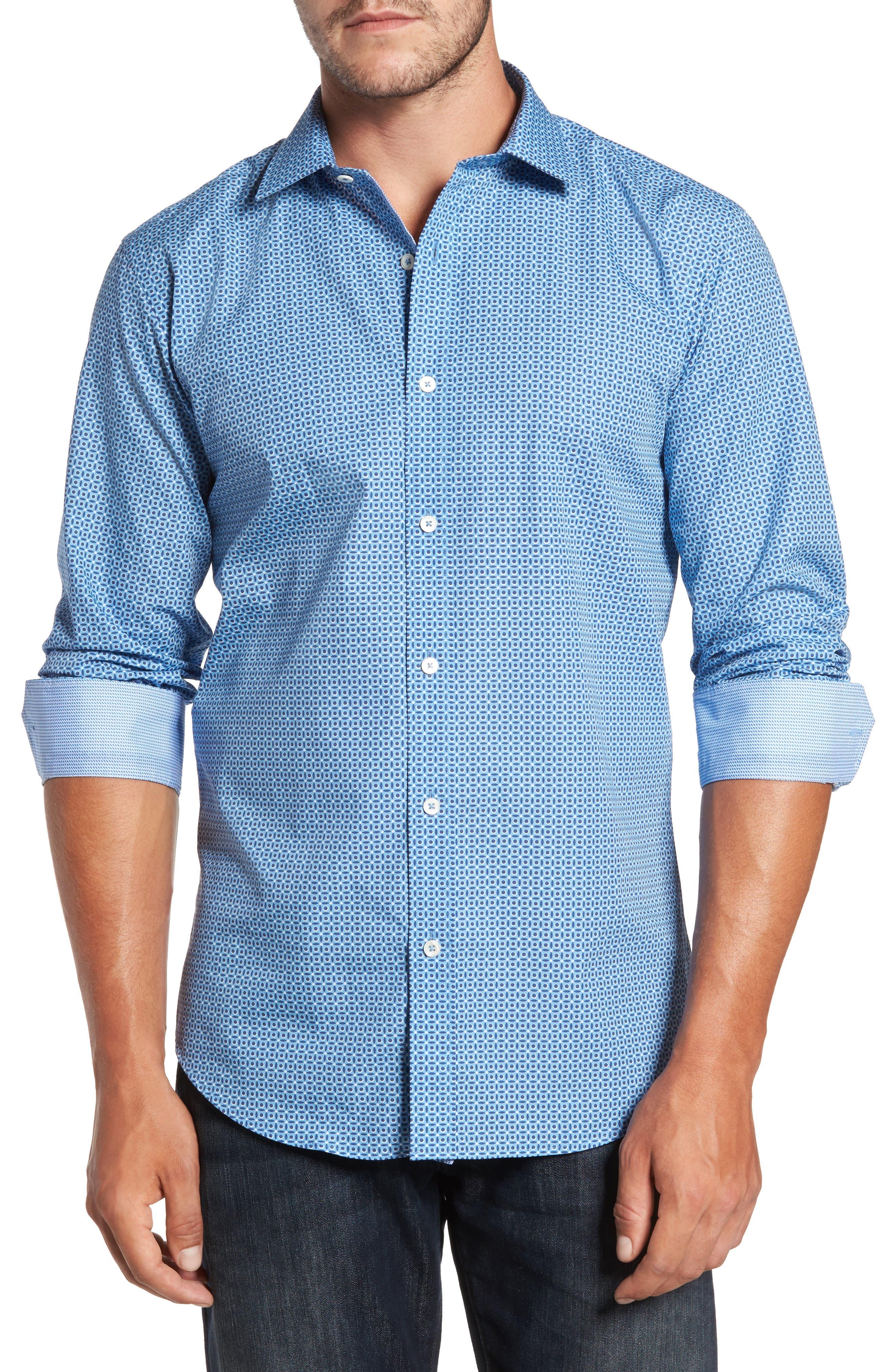 Trim Fit Dot Print Sport Shirt,                         Main,                         color, 400