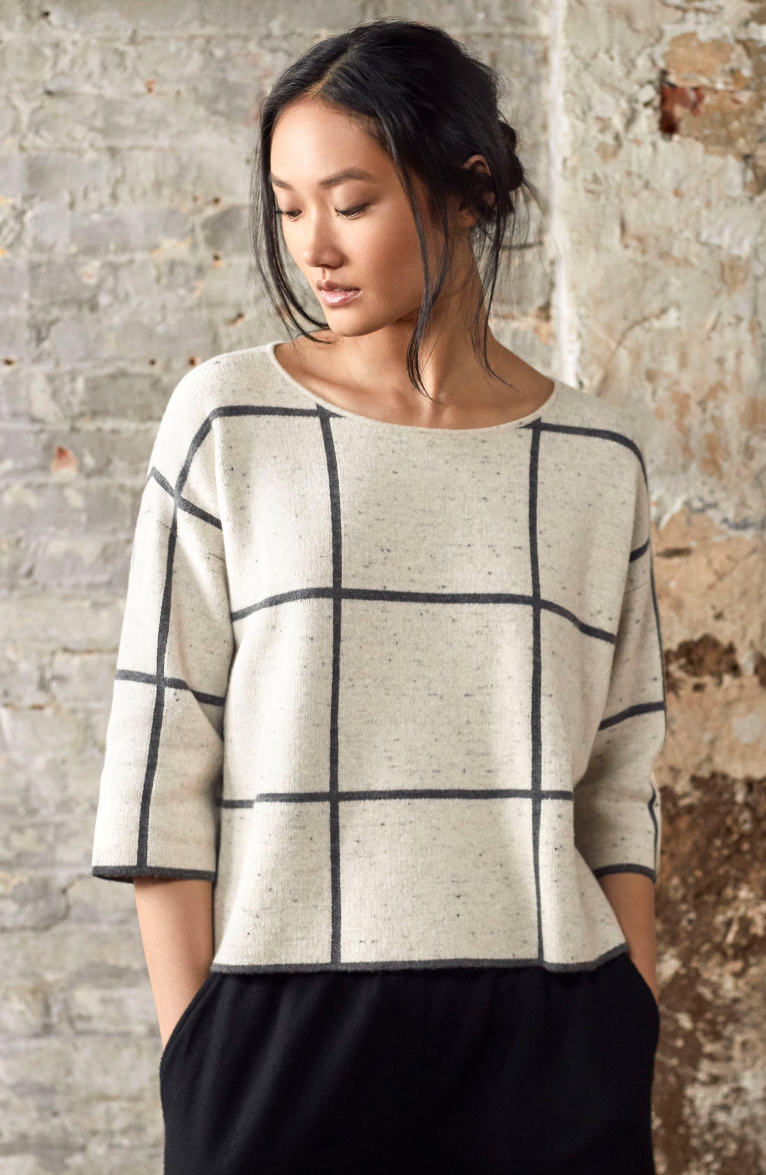 Windowpane Check Boxy Sweater,                             Alternate thumbnail 7, color,                             264