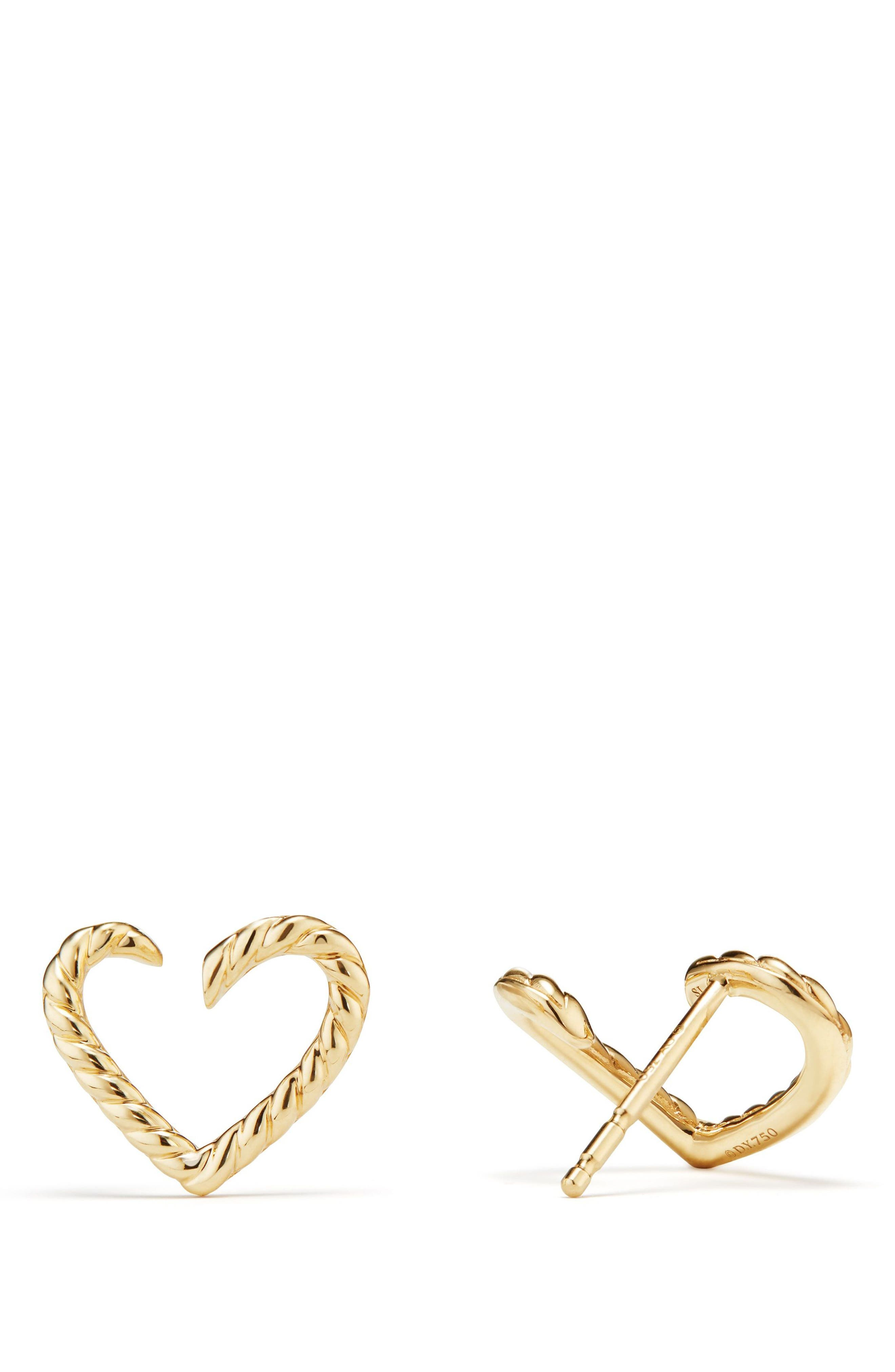 Cable Heart Earring in 18K Gold,                             Alternate thumbnail 2, color,                             GOLD