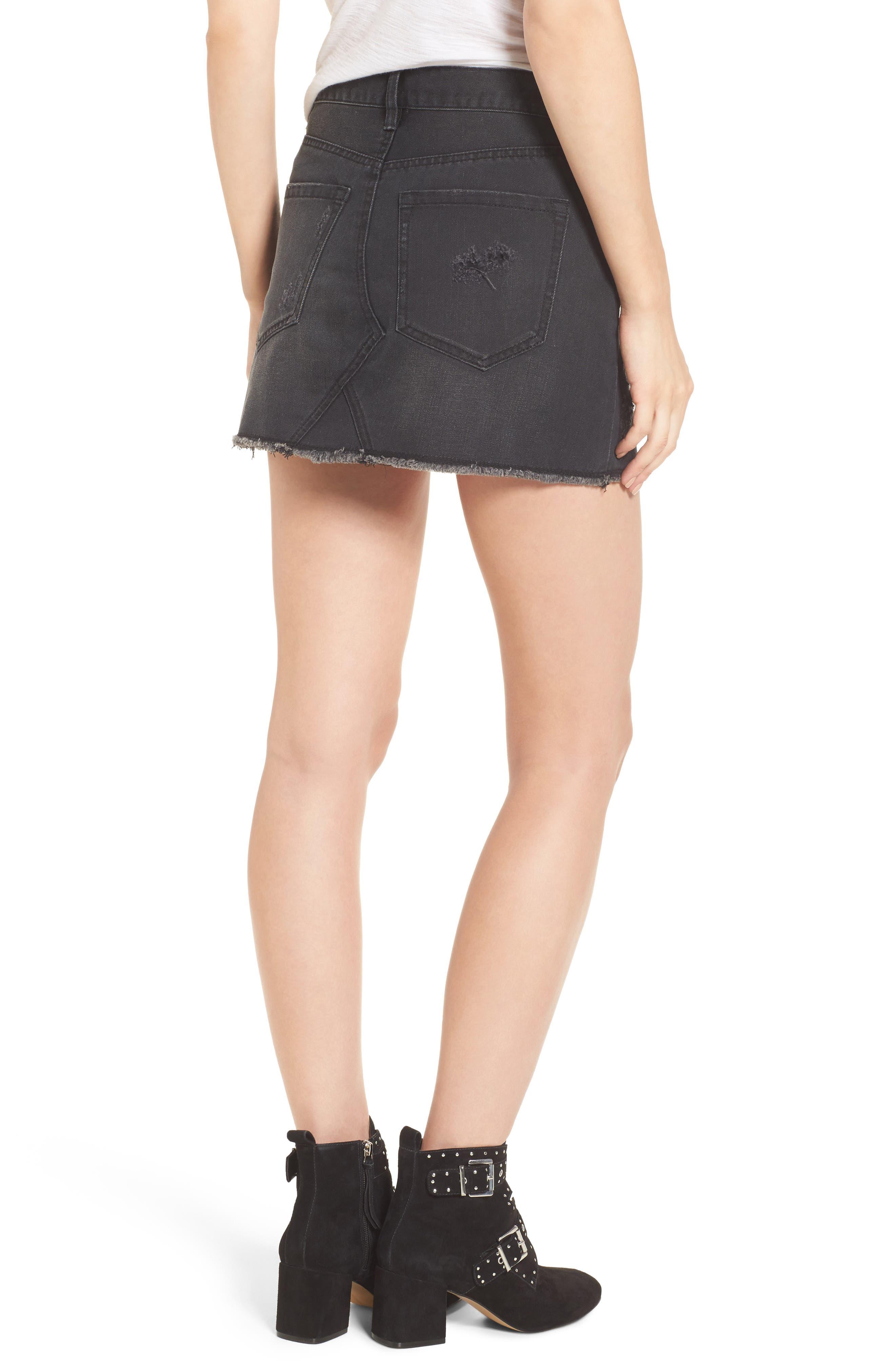 Destroyed Denim Miniskirt,                             Alternate thumbnail 2, color,                             001