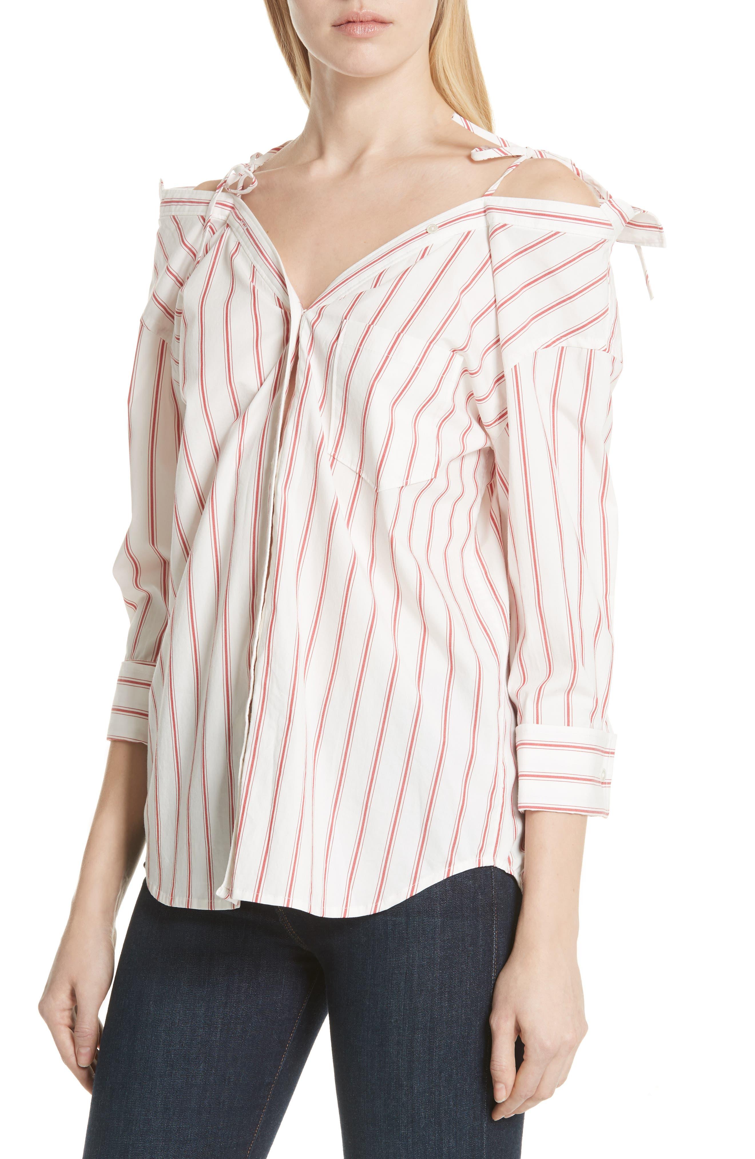 Alvina Tie Front Stripe Shirt,                             Alternate thumbnail 4, color,                             600