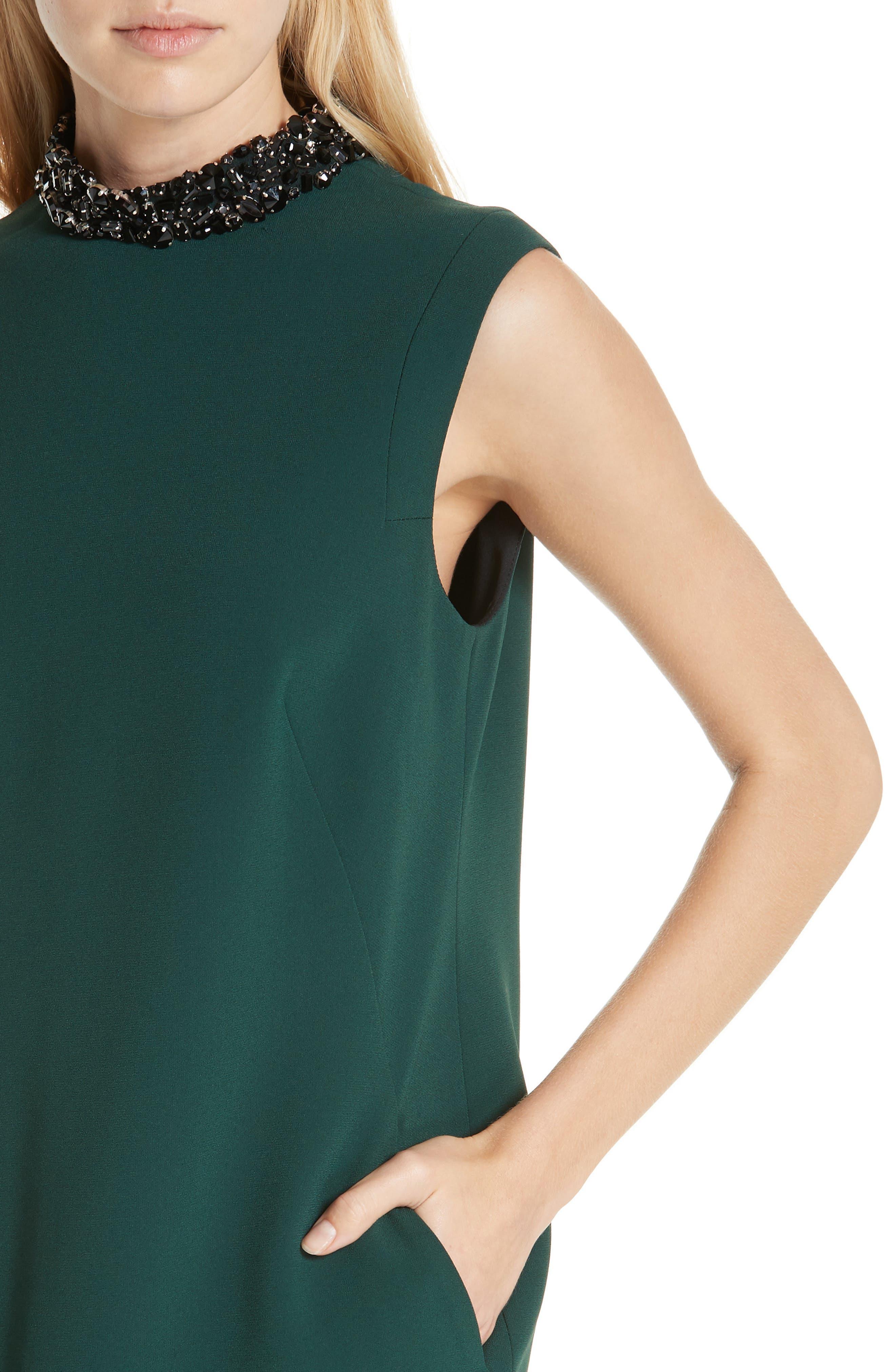Verona Jewel Neck Dress,                             Alternate thumbnail 4, color,                             DK. GREEN