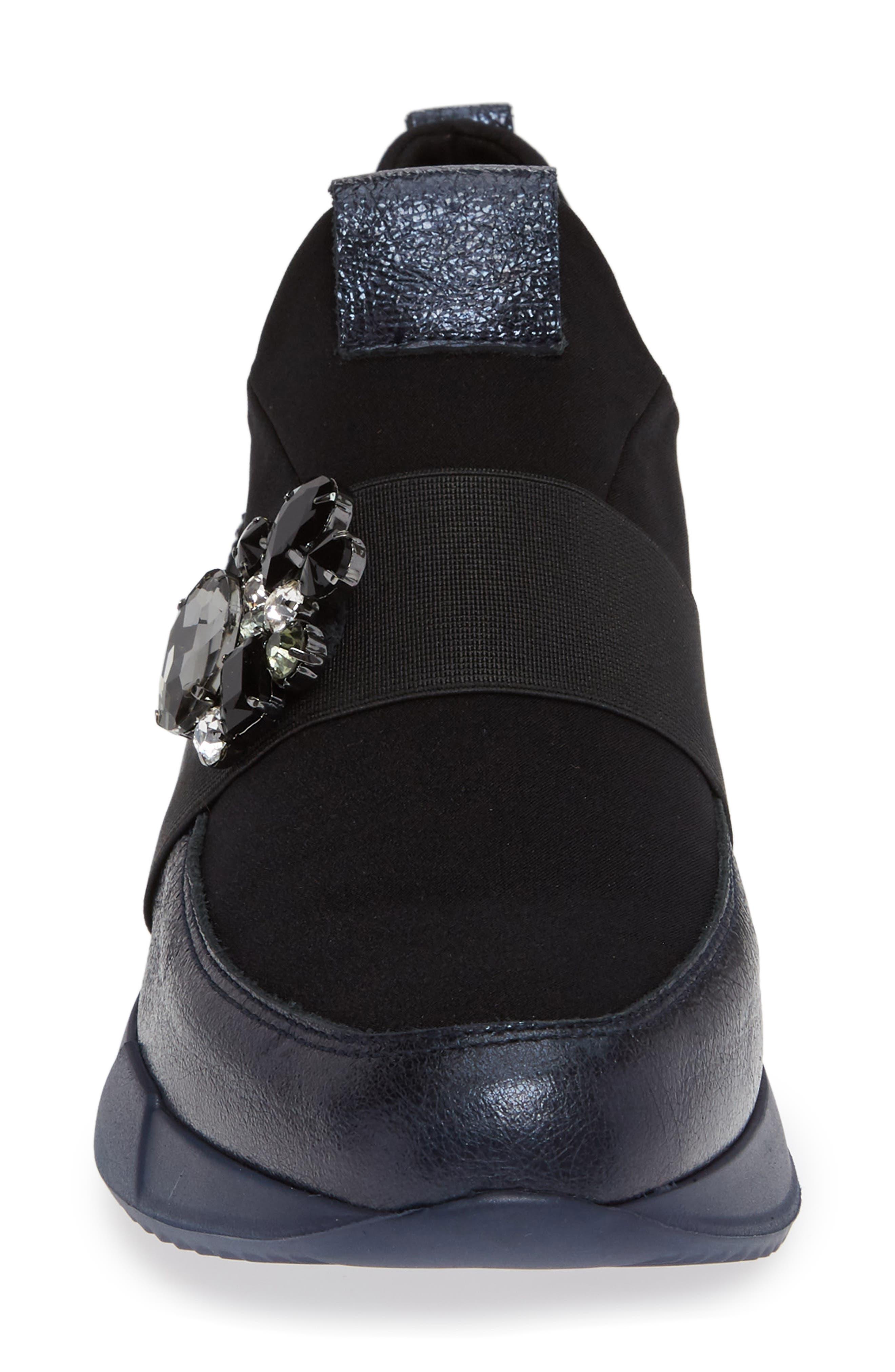 Callen Embellished Sock Sneaker,                             Alternate thumbnail 4, color,                             SHADOW MARINE LEATHER