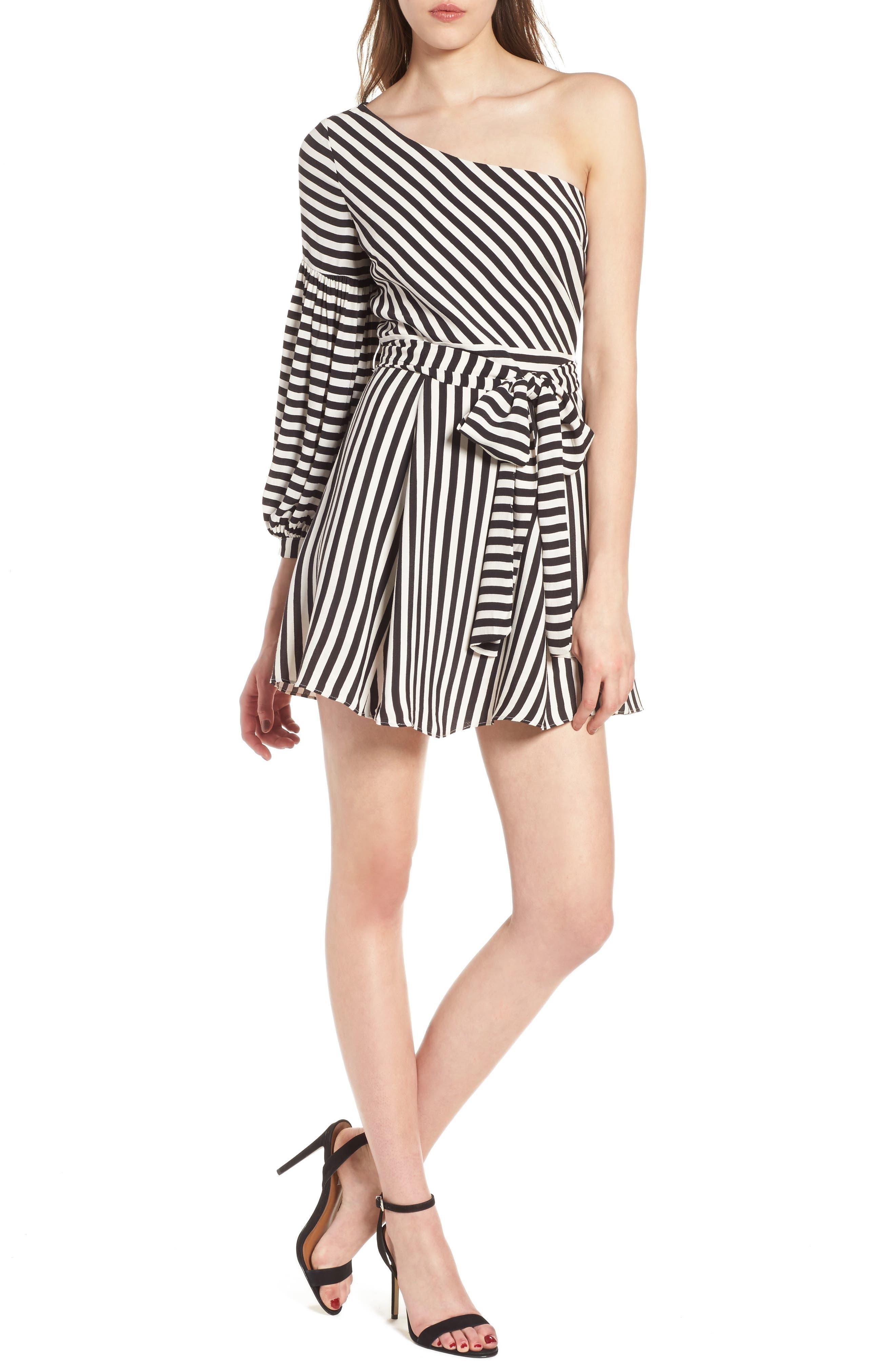 Huntington One-Shoulder Minidress,                         Main,                         color,