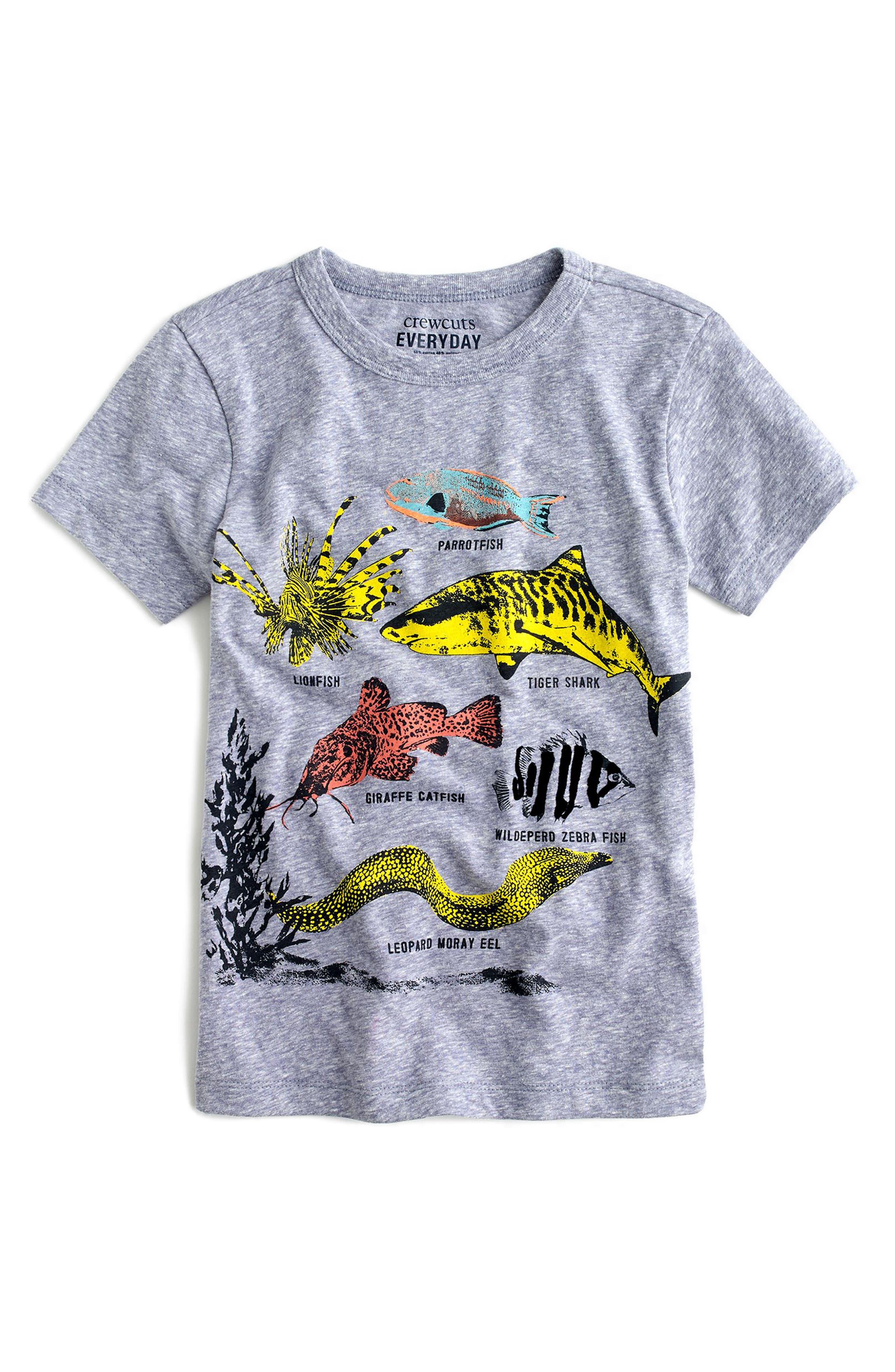 CREWCUTS BY J.CREW,                             Safari Fish Graphic T-Shirt,                             Main thumbnail 1, color,                             400
