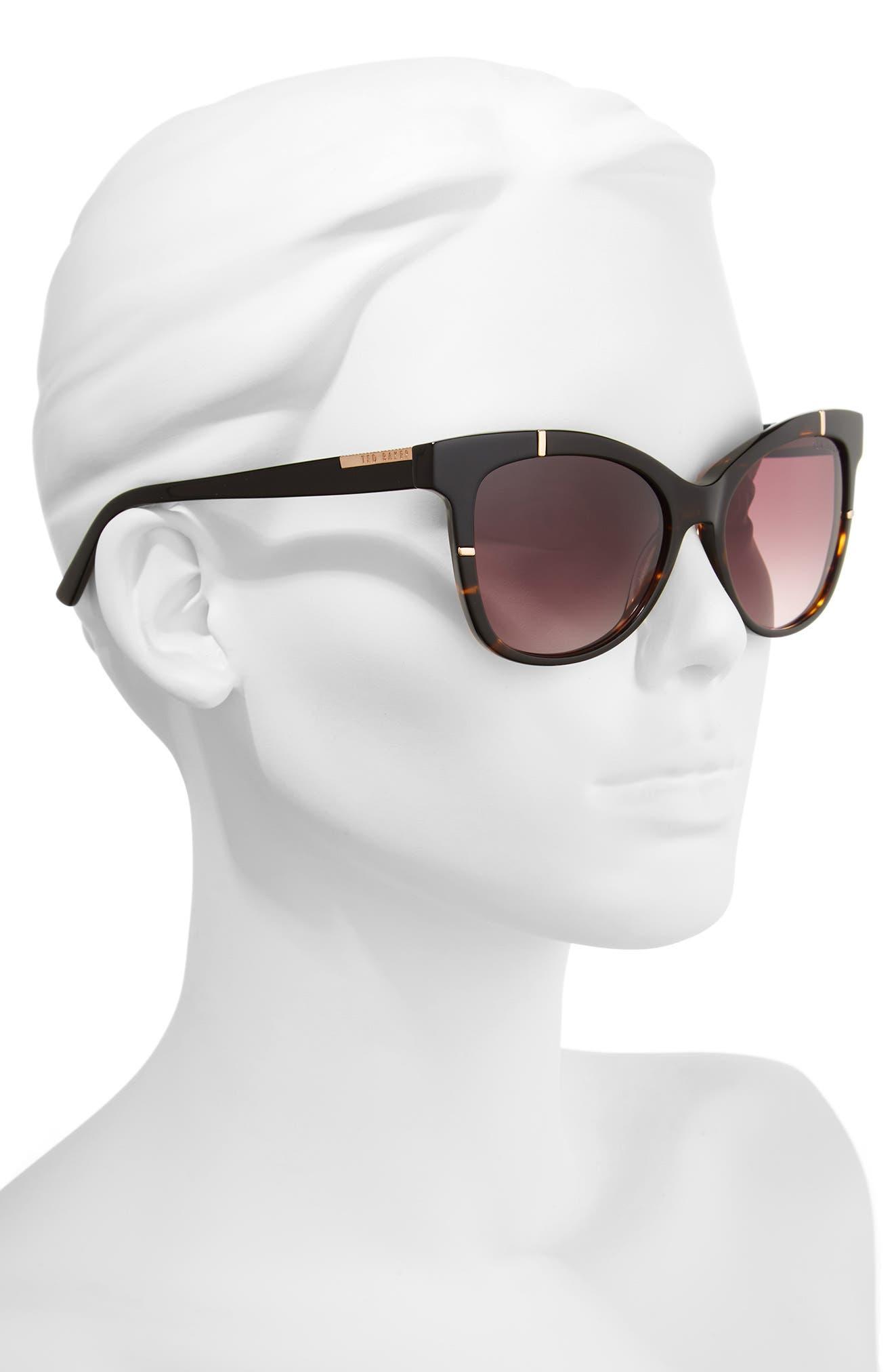 55mm Square Cat Eye Sunglasses,                             Alternate thumbnail 2, color,                             TORTOISE