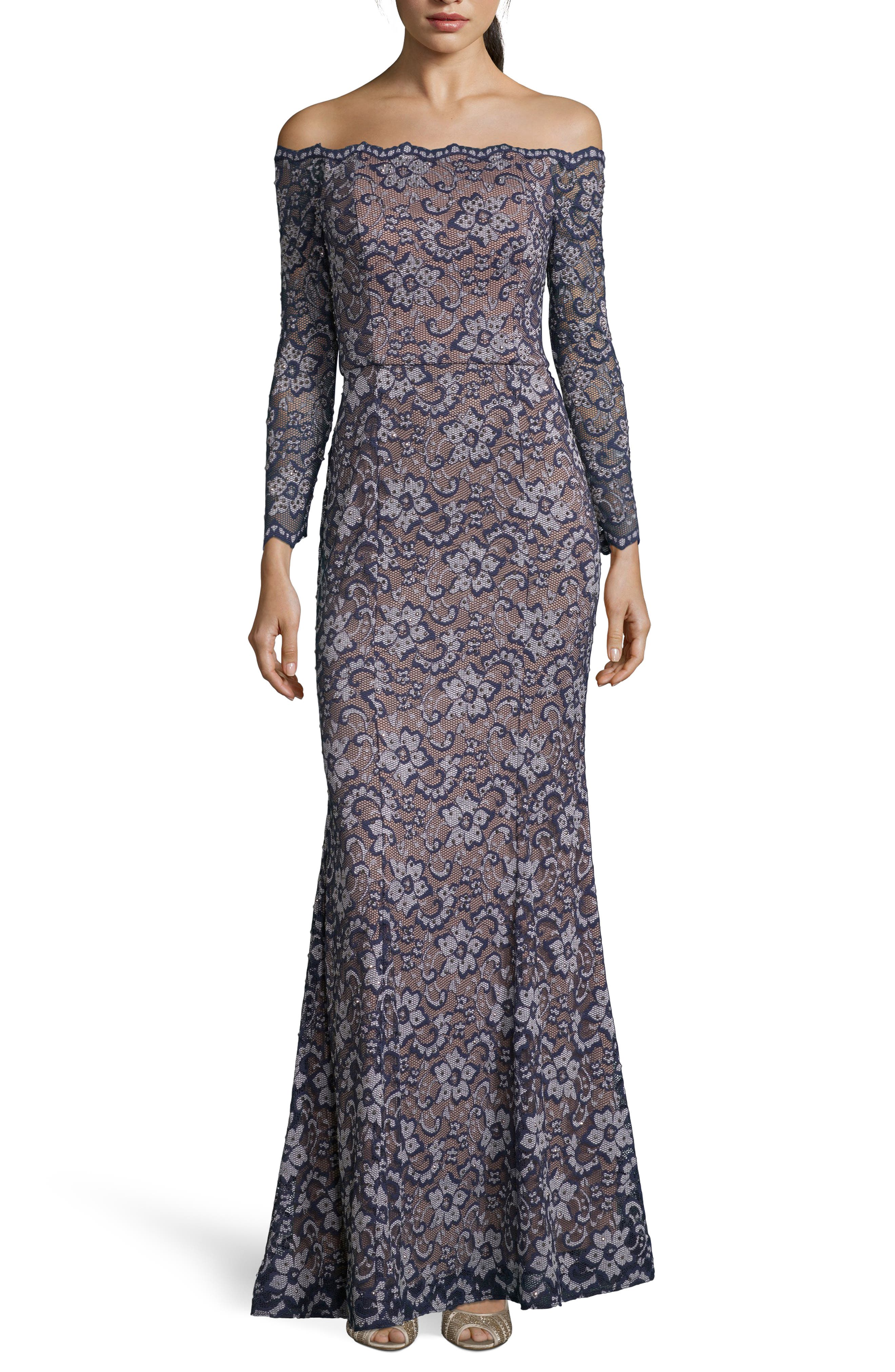 XSCAPE,                             Off the Shoulder Lace Evening Dress,                             Main thumbnail 1, color,                             NAVY/ NUDE