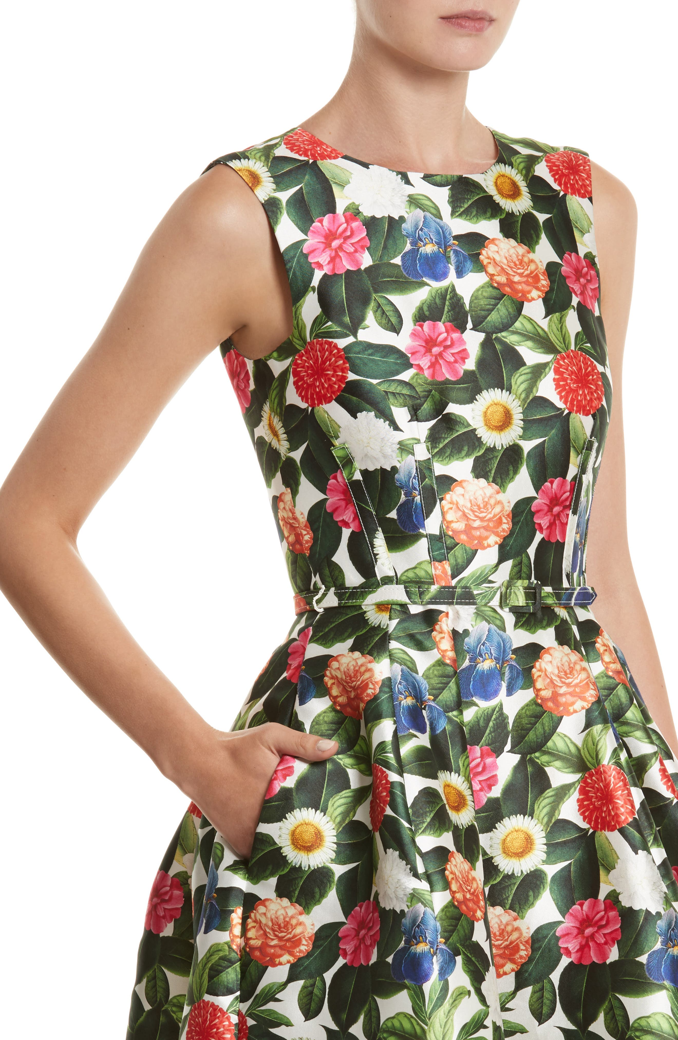 Floral Silk Mikado Fit & Flare Dress,                             Alternate thumbnail 4, color,