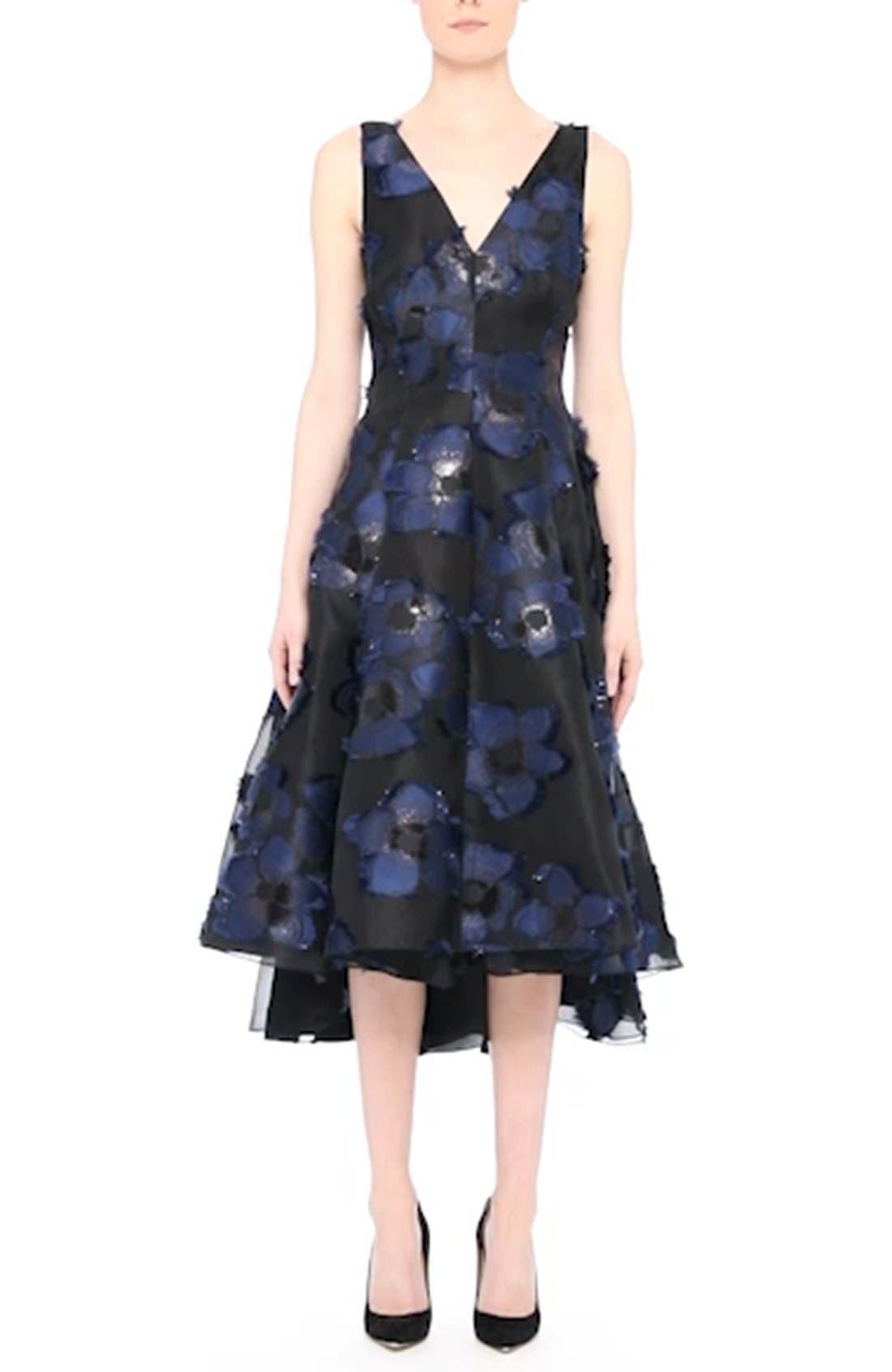 High/Low Metallic Fil Coupé Dress,                             Alternate thumbnail 7, color,                             410