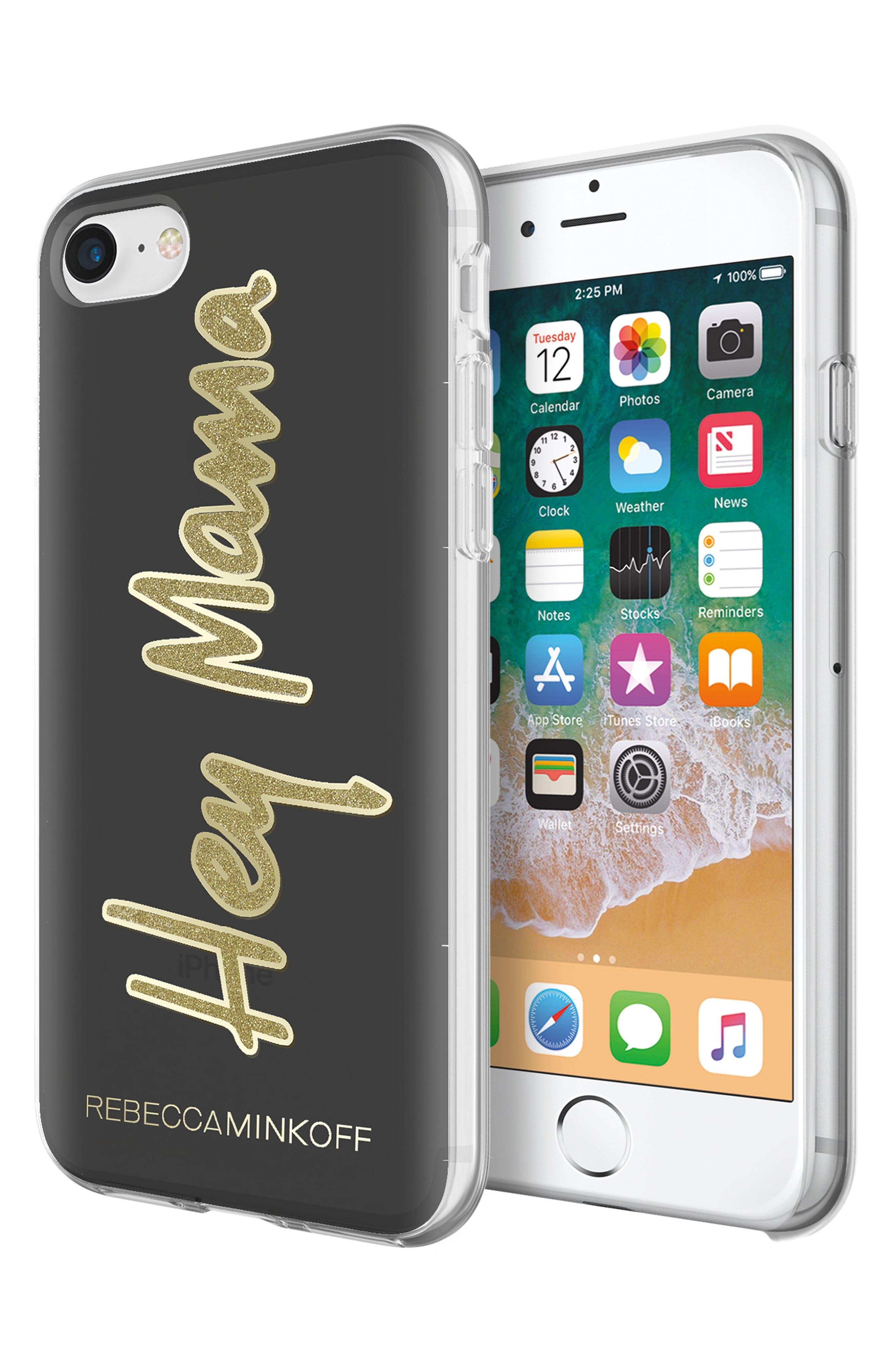 Hey Mama iPhone 7/8 & 7/8 Plus Case,                             Alternate thumbnail 4, color,                             BLACK/ GOLD GLITTER