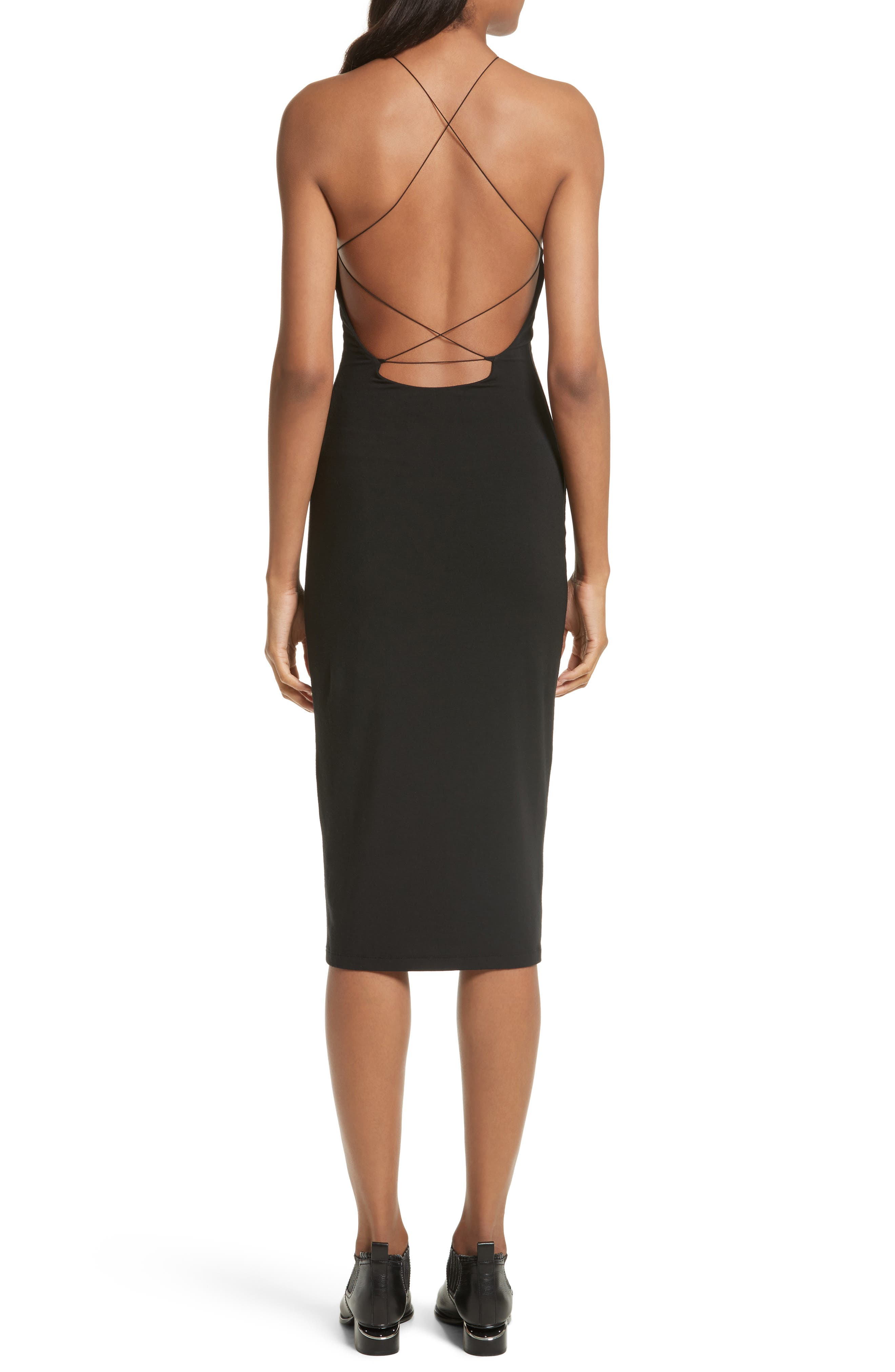 T by Alexander Wang Strappy Jersey Body-Con Dress,                             Alternate thumbnail 2, color,                             001