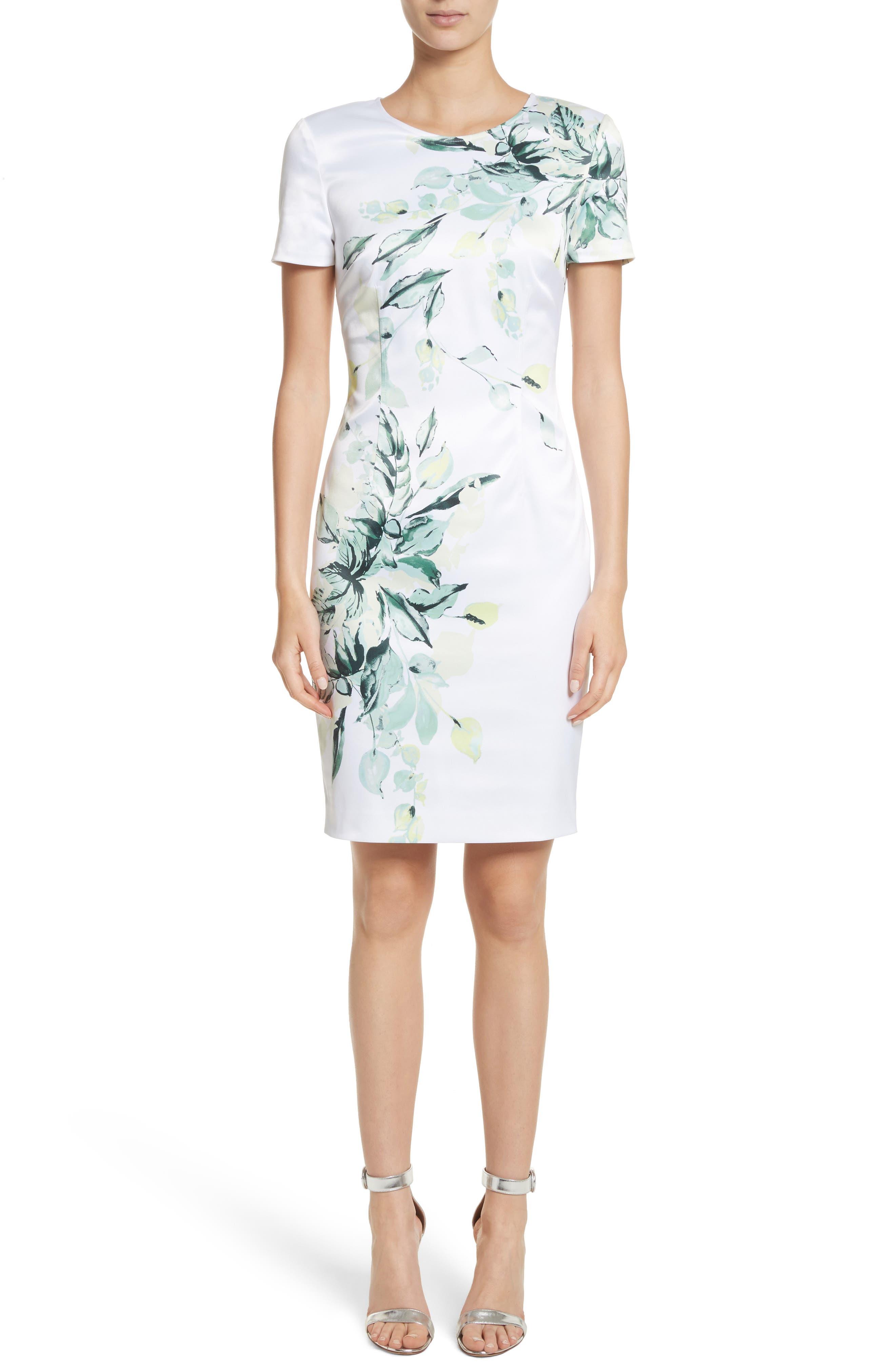 Leaf Print Sheath Dress,                             Main thumbnail 1, color,