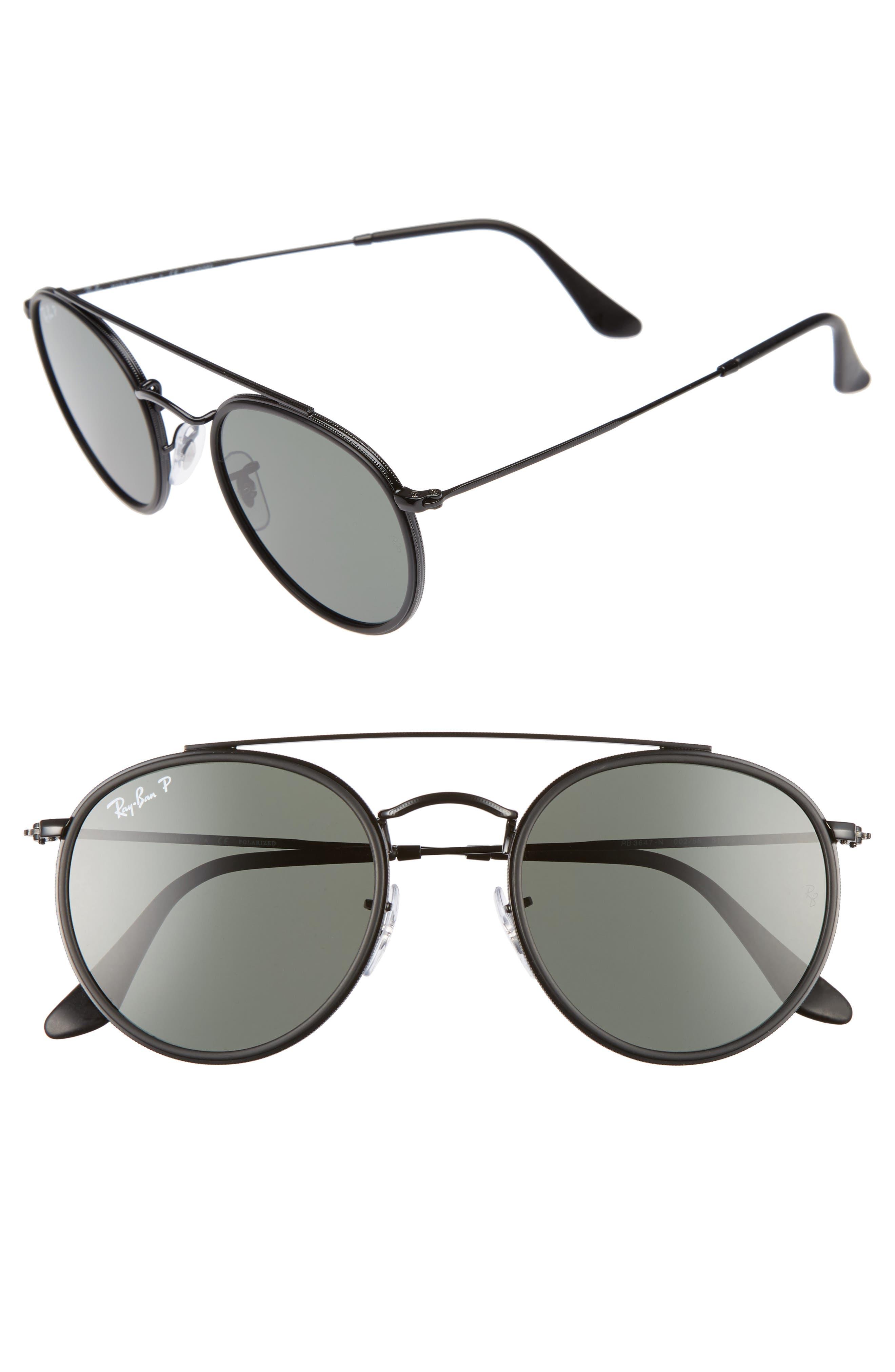 51mm Polarized Round Sunglasses,                             Alternate thumbnail 2, color,                             001