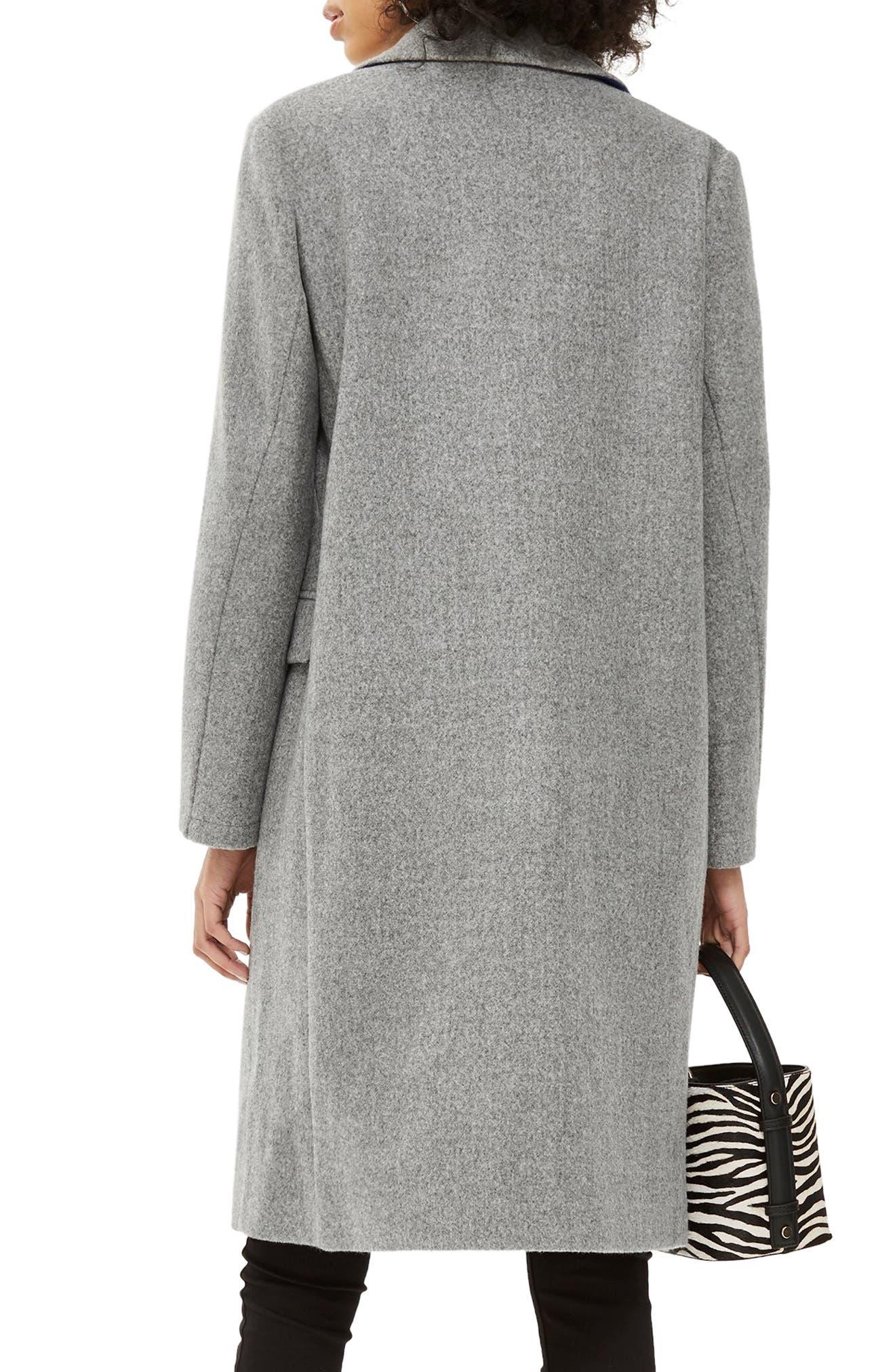 Lily Knit Back Midi Coat,                             Alternate thumbnail 2, color,                             GREY MARL