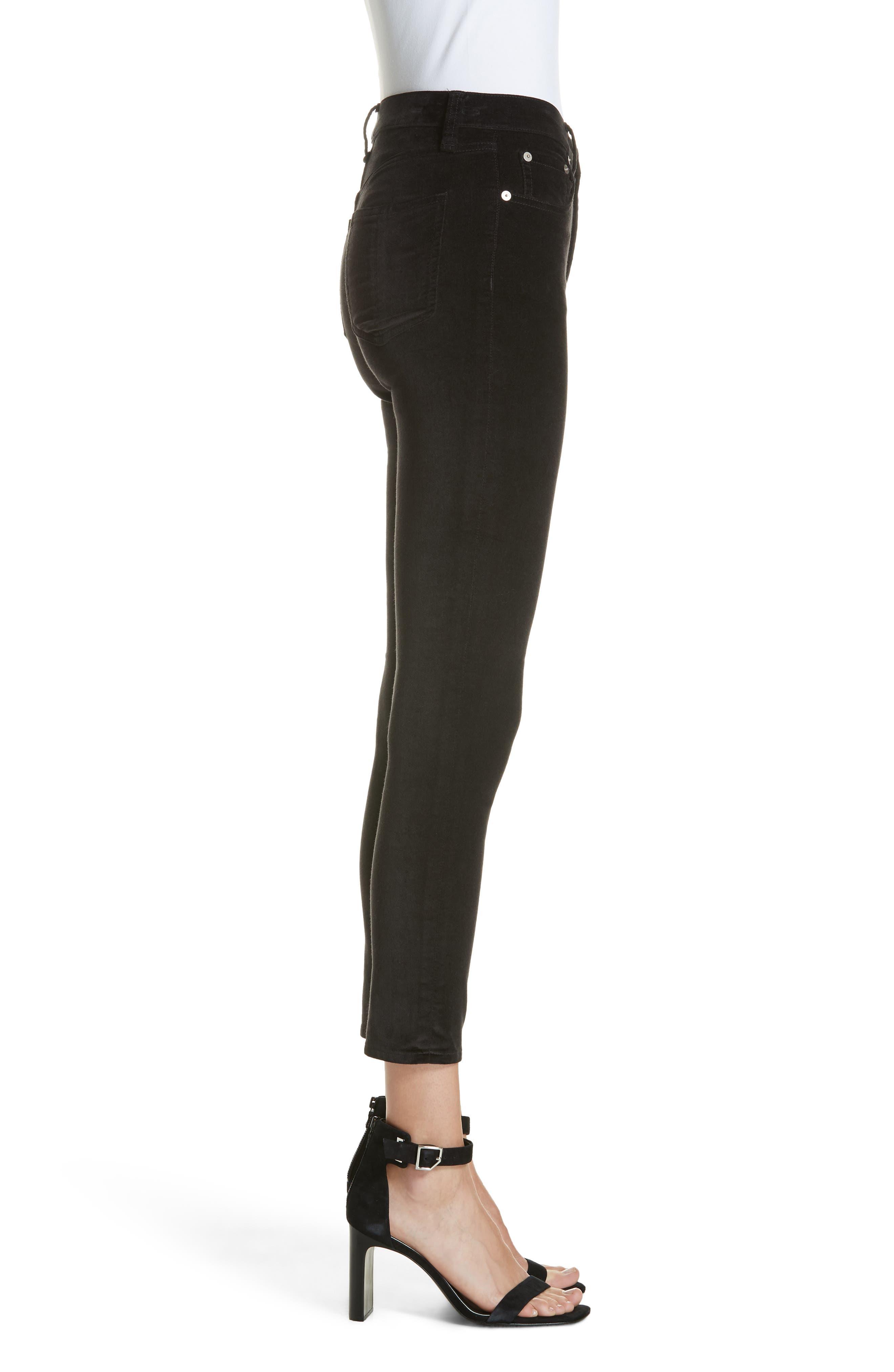 High Waist Velvet Skinny Pants,                             Alternate thumbnail 3, color,                             BLACK