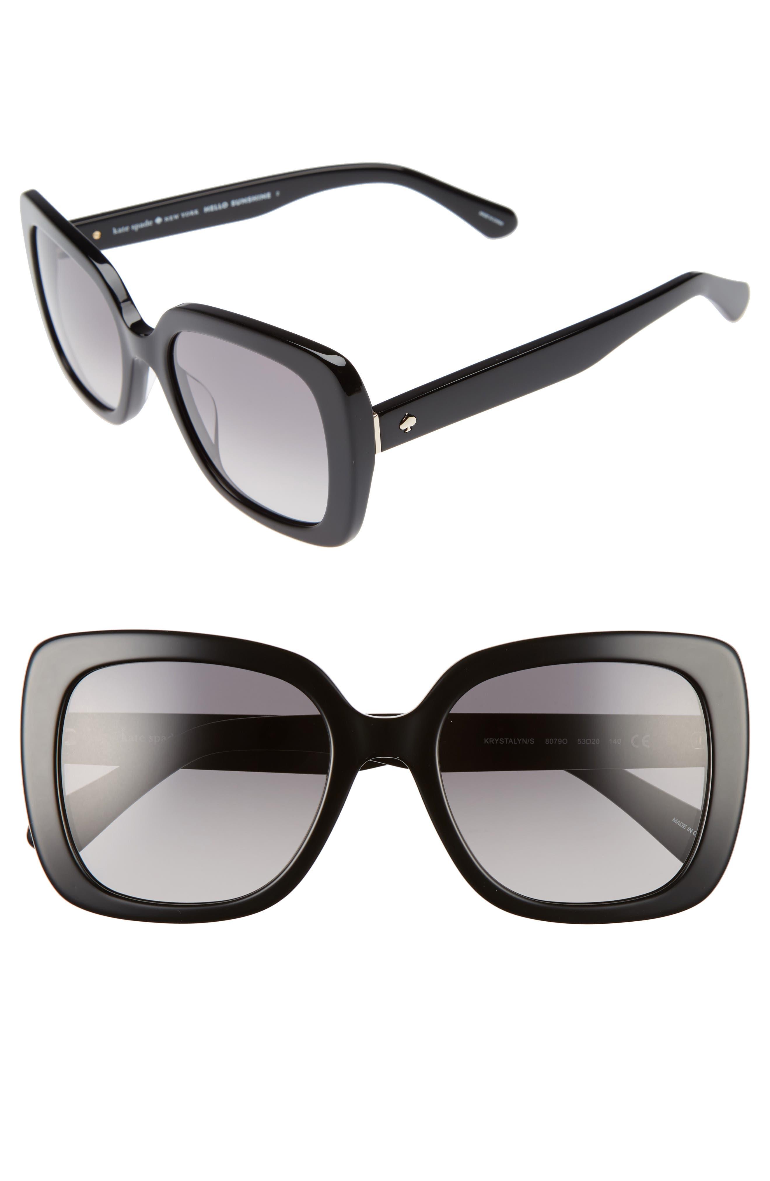 krystalyn 53mm sunglasses,                         Main,                         color, BLACK