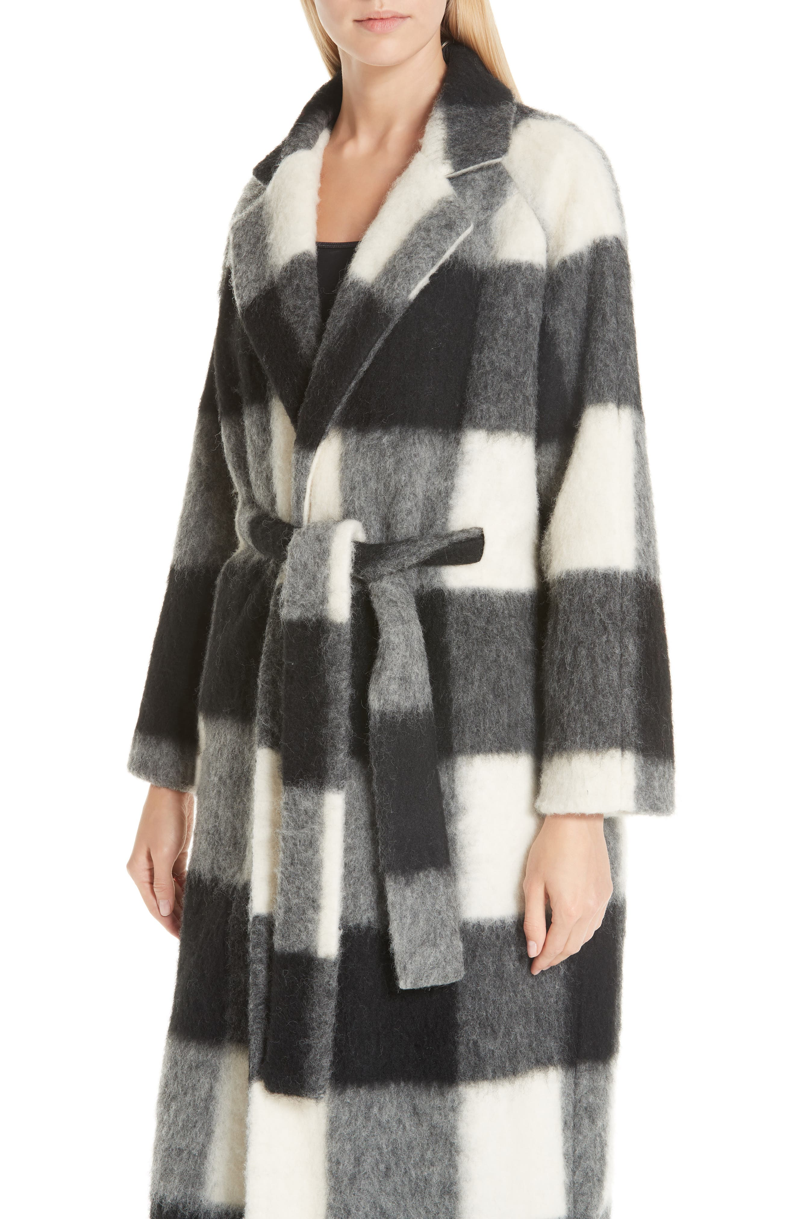 Pattern Wool Blend Coat,                             Alternate thumbnail 4, color,                             900