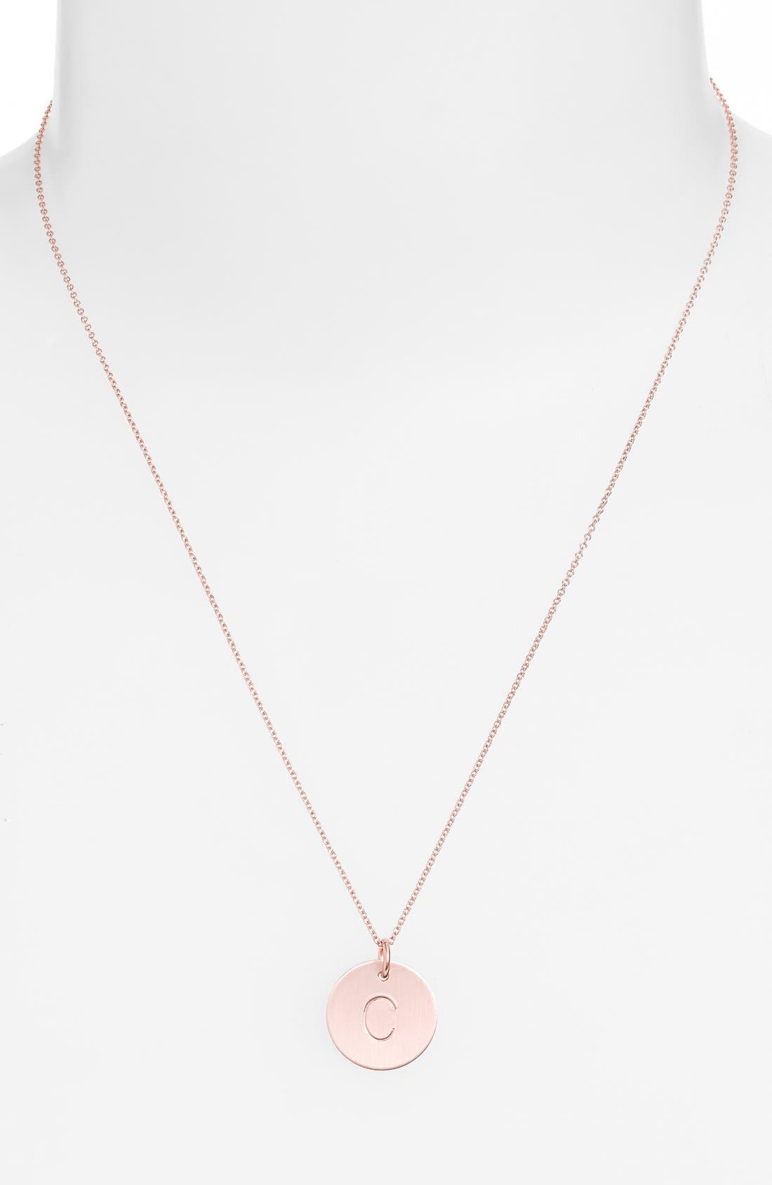 14k-Rose Gold Fill Initial Disc Necklace,                             Alternate thumbnail 29, color,