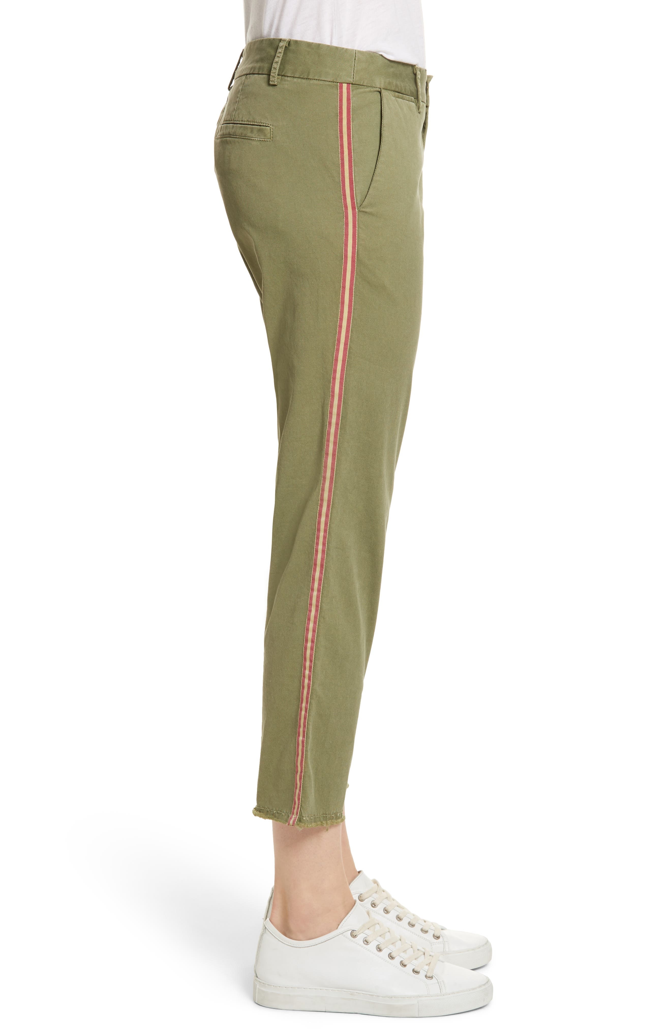 East Hampton Stretch Cotton Twill Crop Pants,                             Alternate thumbnail 3, color,                             ARMY GREEN