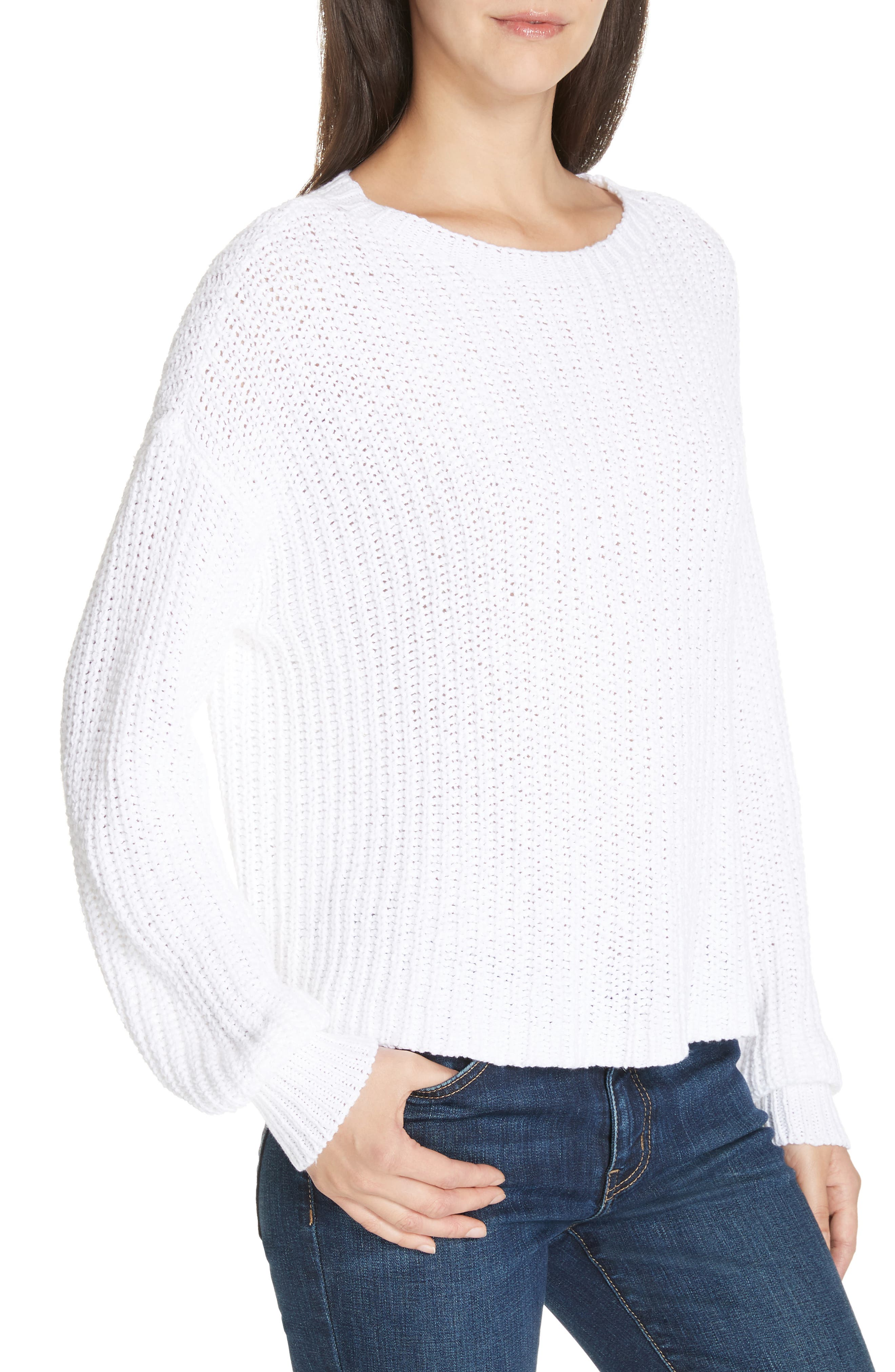 Crewneck Crop Shaker Sweater,                             Alternate thumbnail 5, color,                             WHITE