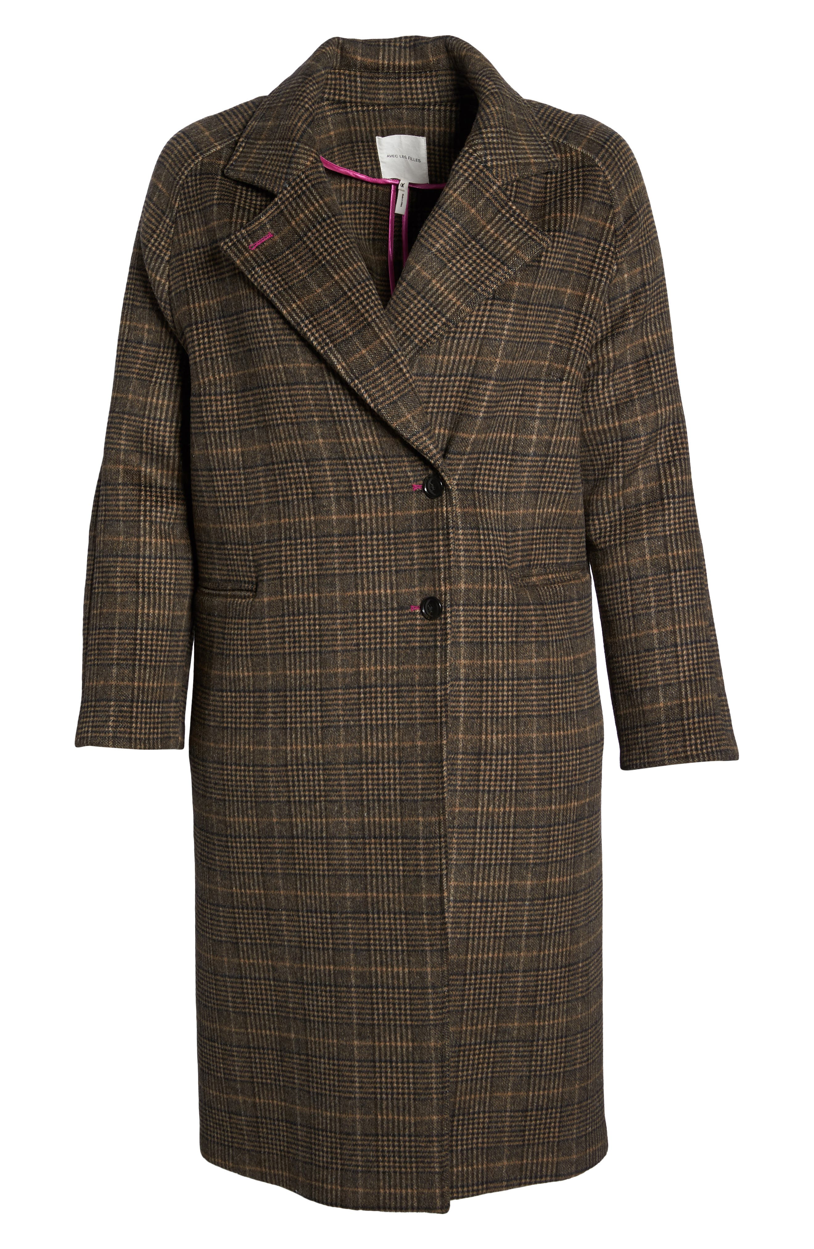 Double Face Plaid Wool Blend Coat,                             Alternate thumbnail 6, color,                             218