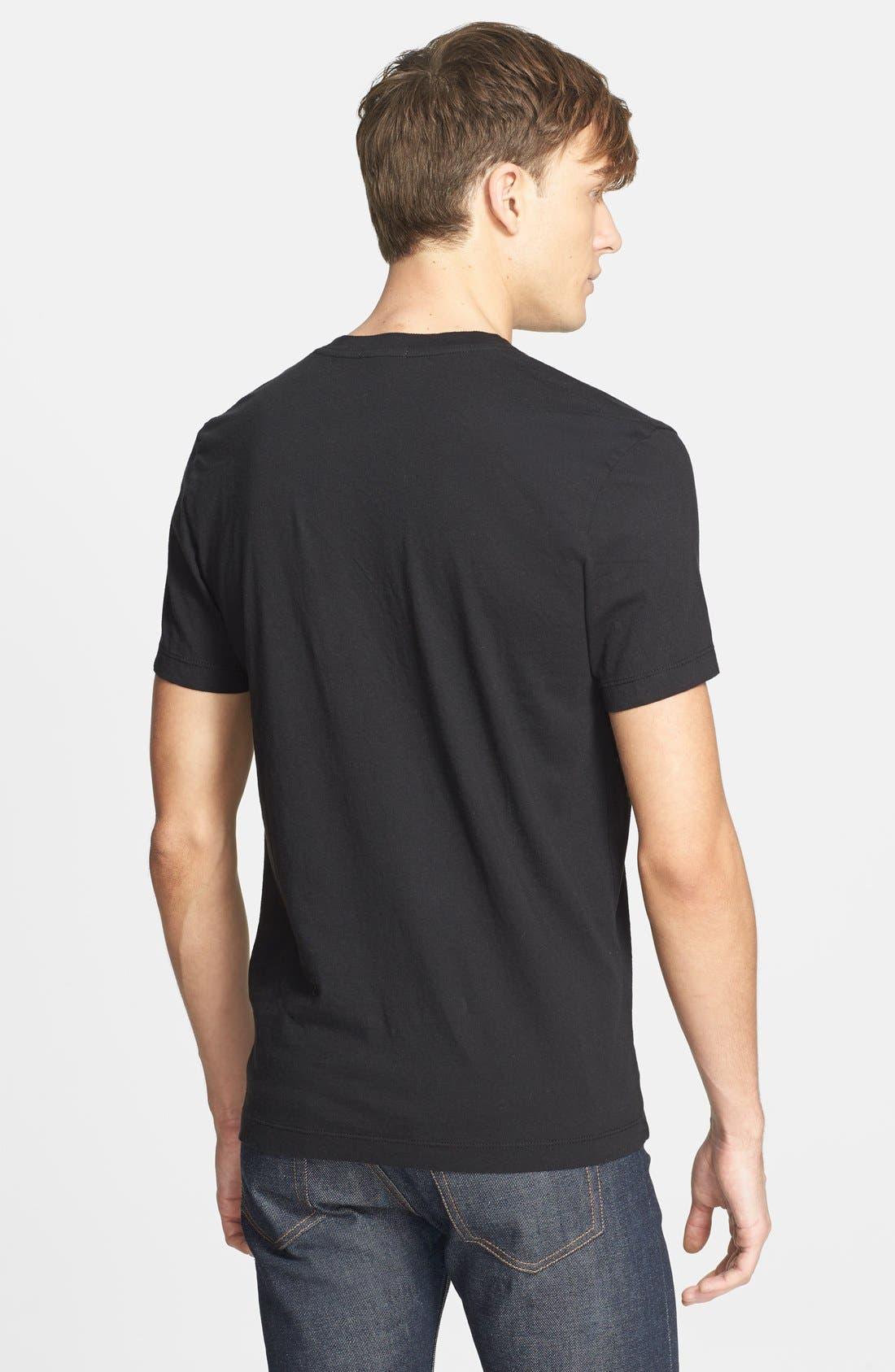 Short Sleeve V-Neck T-Shirt,                             Alternate thumbnail 4, color,                             BLACK