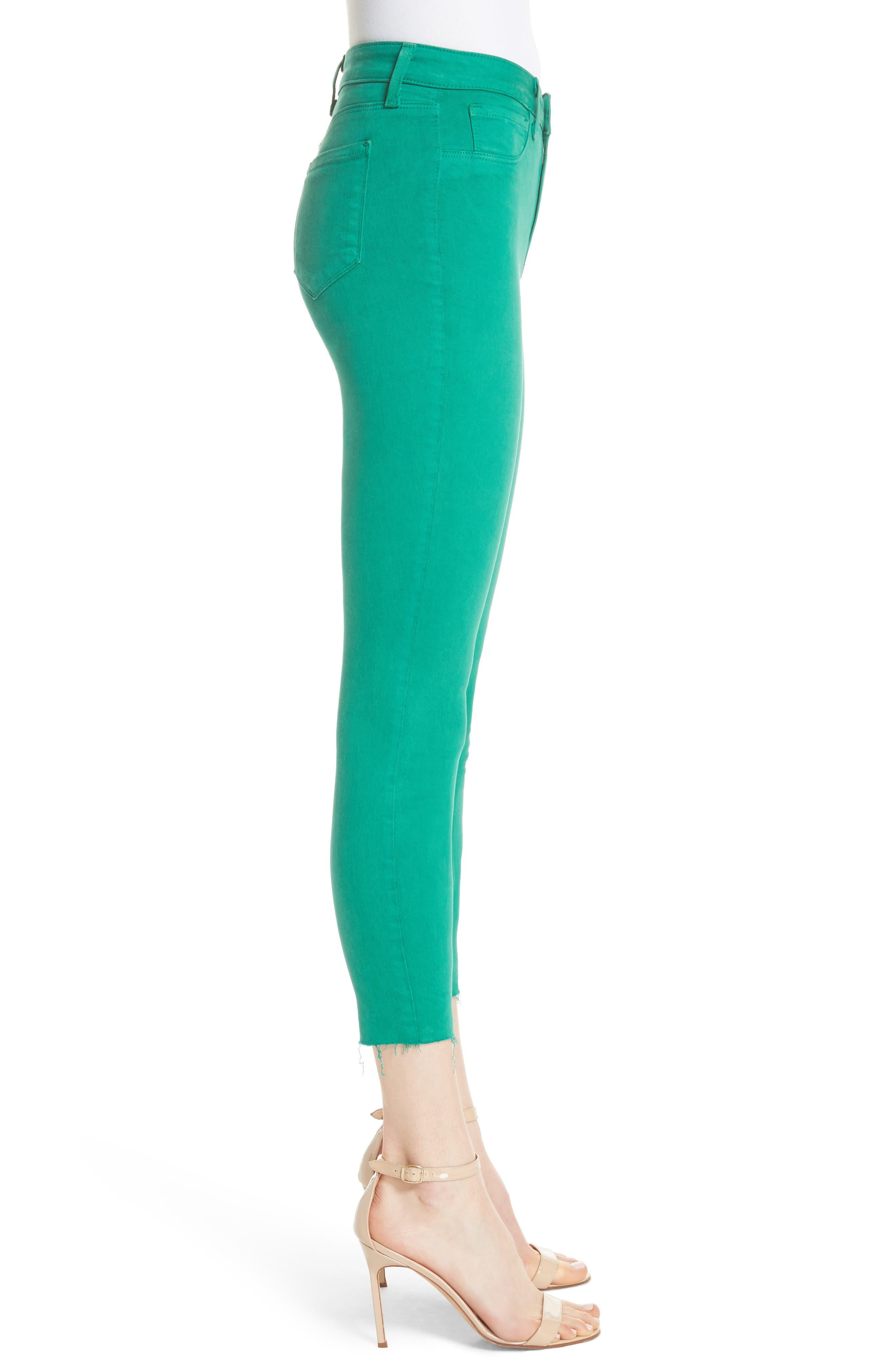 Margot Crop Skinny Jeans,                             Alternate thumbnail 3, color,                             EMERALD
