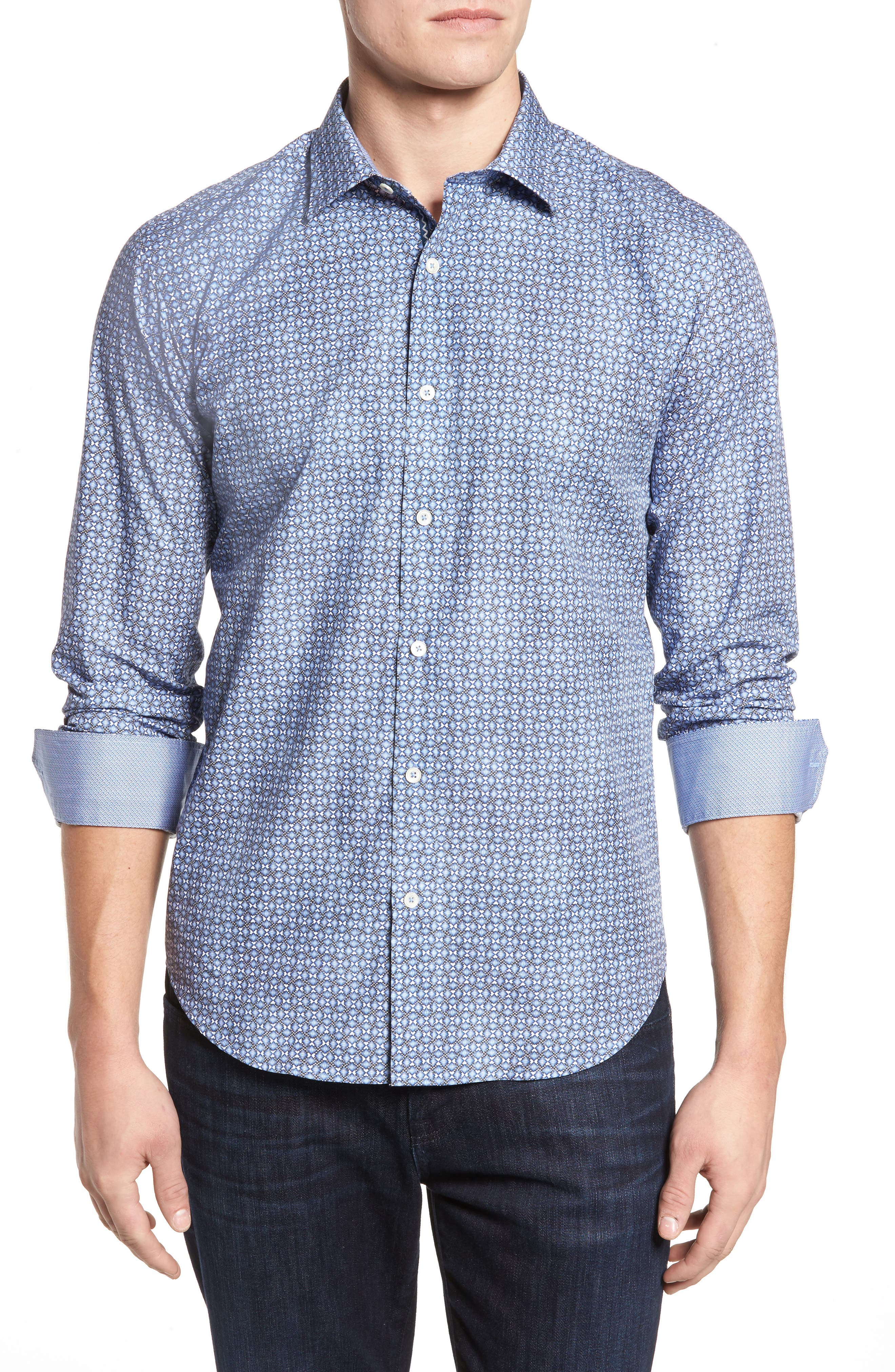 Shaped Fit Optic Print Sport Shirt,                         Main,                         color, 422
