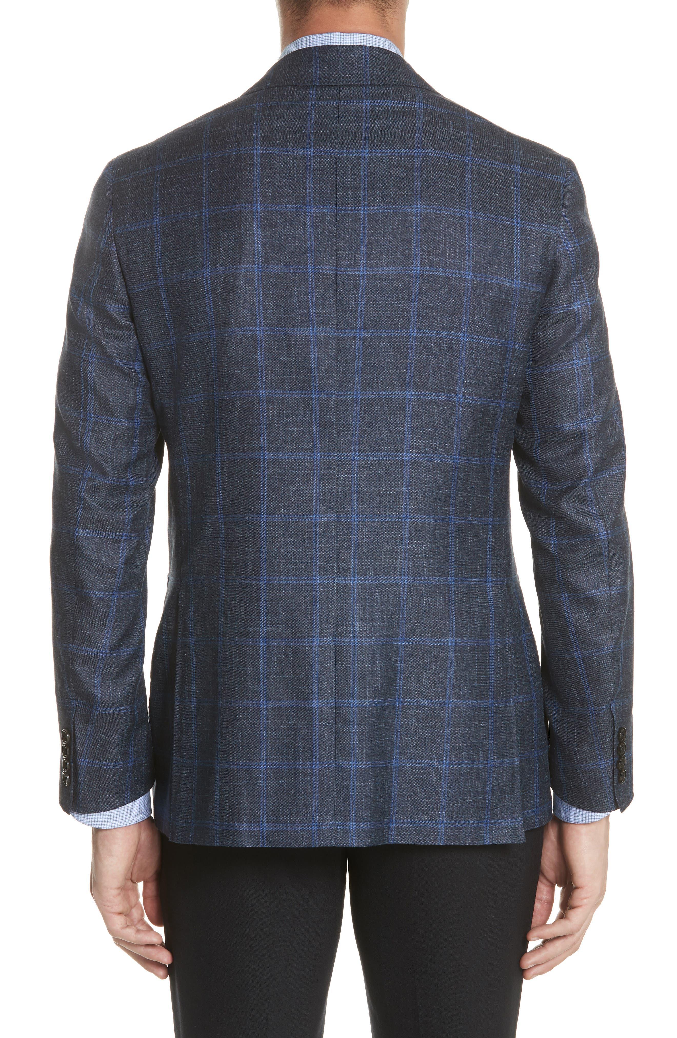 Classic Fit Wool Blend Windowpane Sport Coat,                             Alternate thumbnail 2, color,