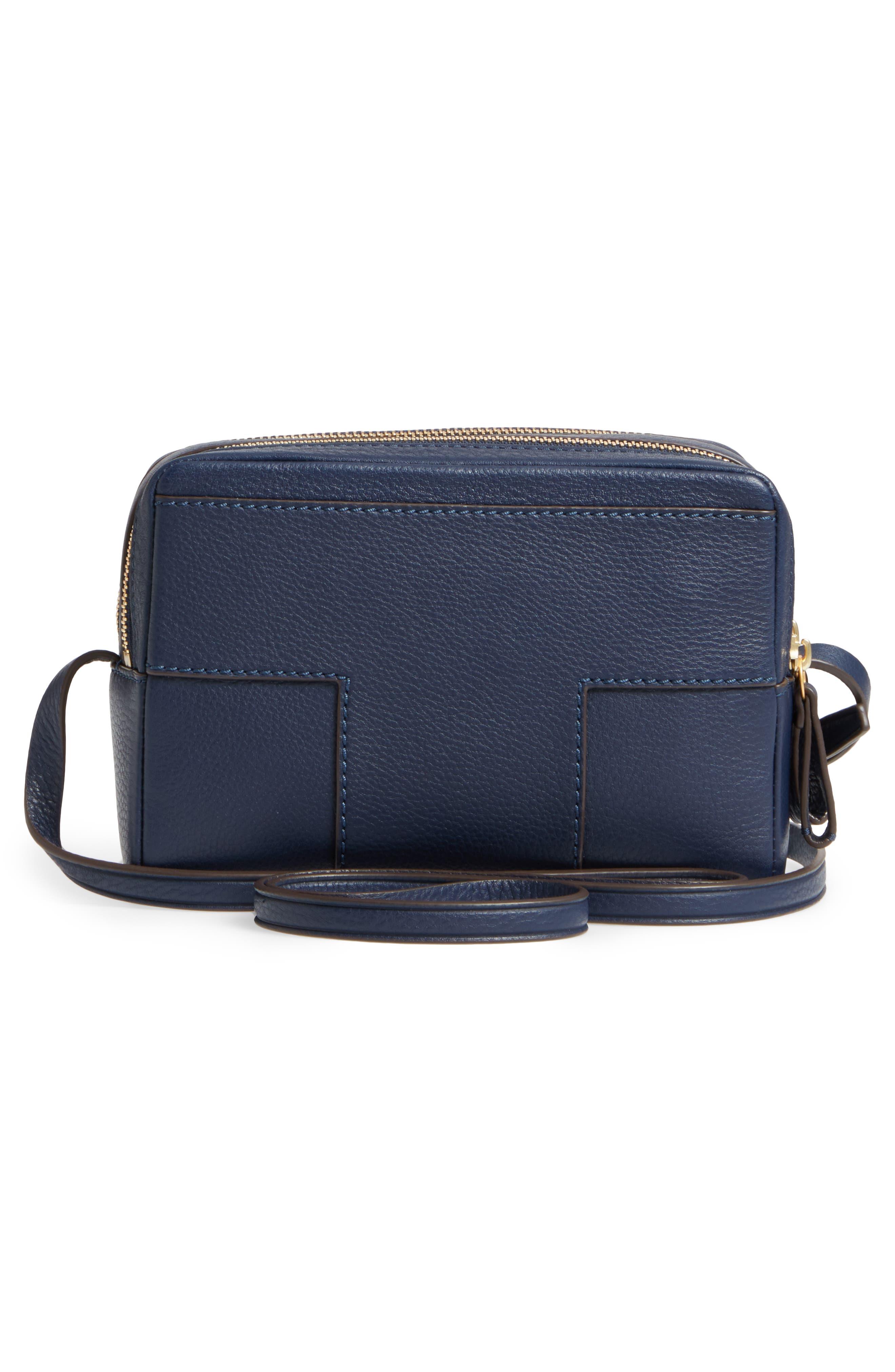 Block-T Double Zip Leather Crossbody Bag,                             Alternate thumbnail 6, color,