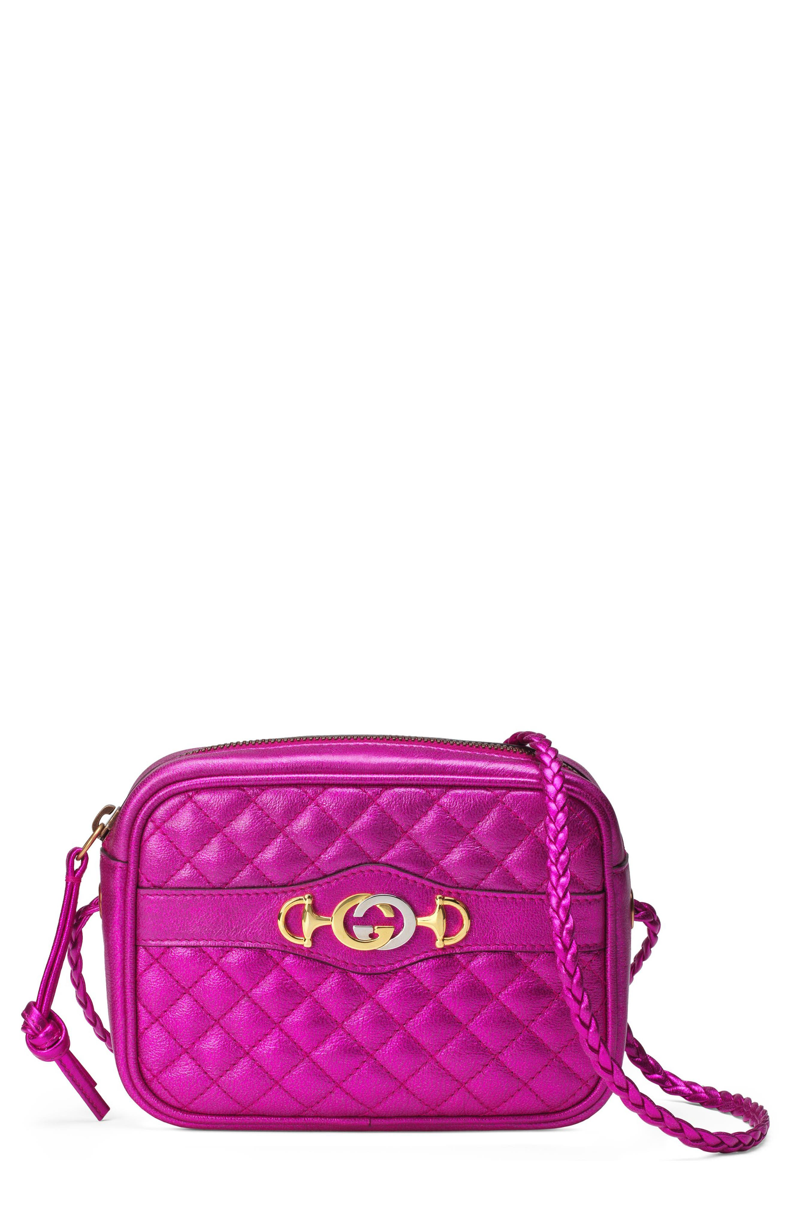 Quilted Metallic Leather Camera Bag,                         Main,                         color, FUXIA