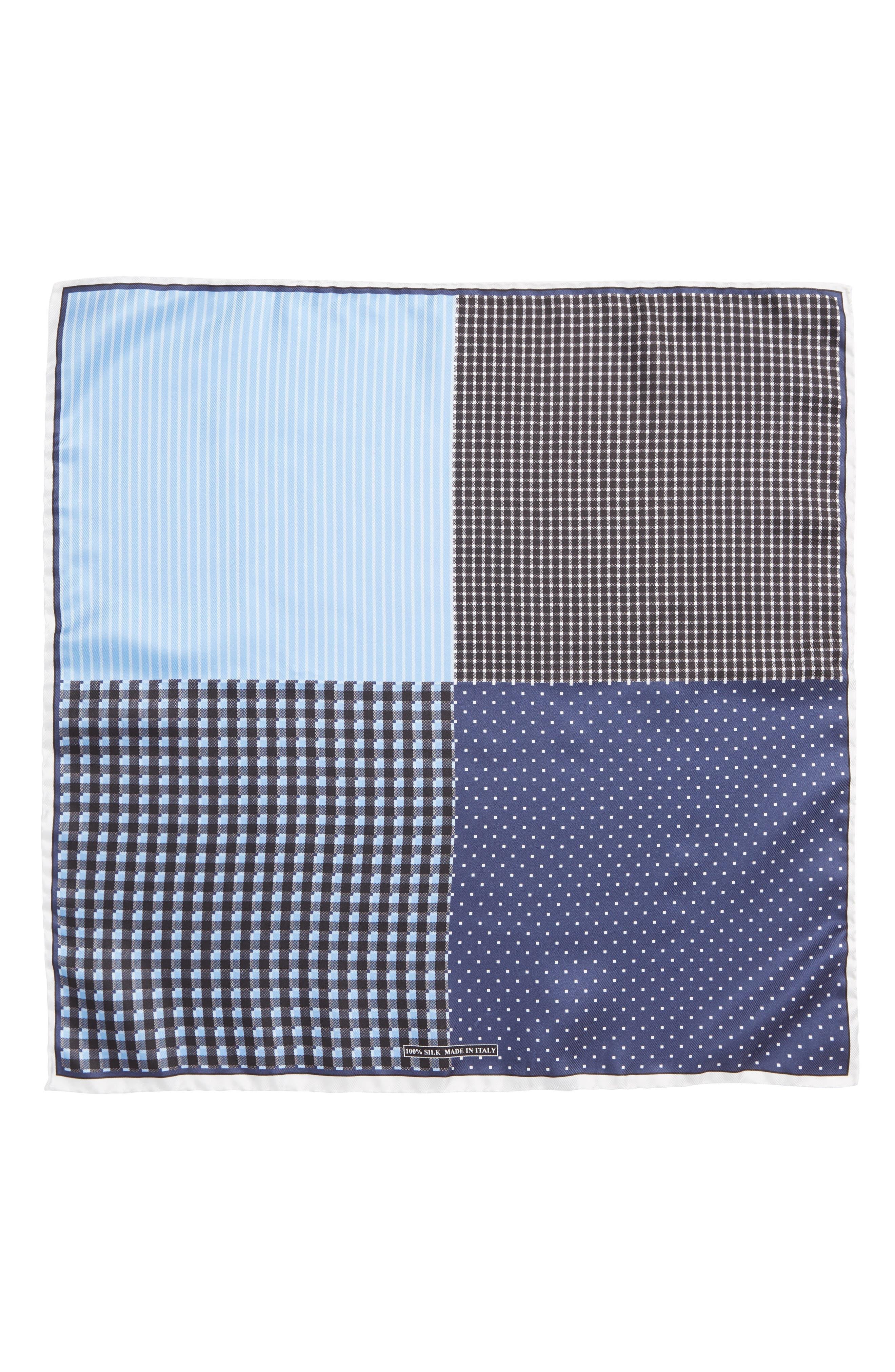 Four Panel Silk Pocket Square,                             Alternate thumbnail 2, color,                             BLACK/ BLUE