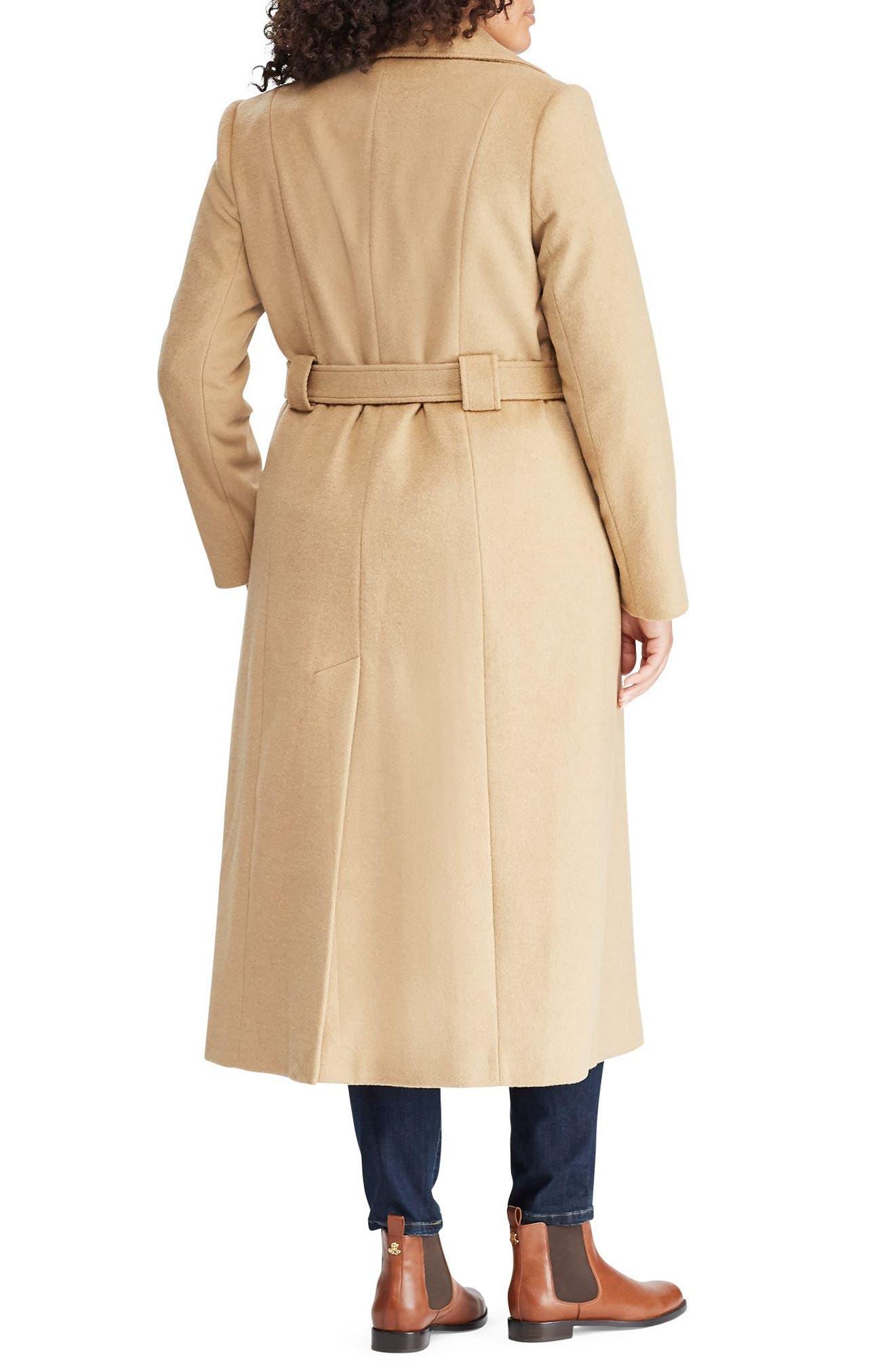 LAUREN RALPH LAUREN,                             Wool Blend Belted Wrap Coat,                             Alternate thumbnail 2, color,                             CAMEL