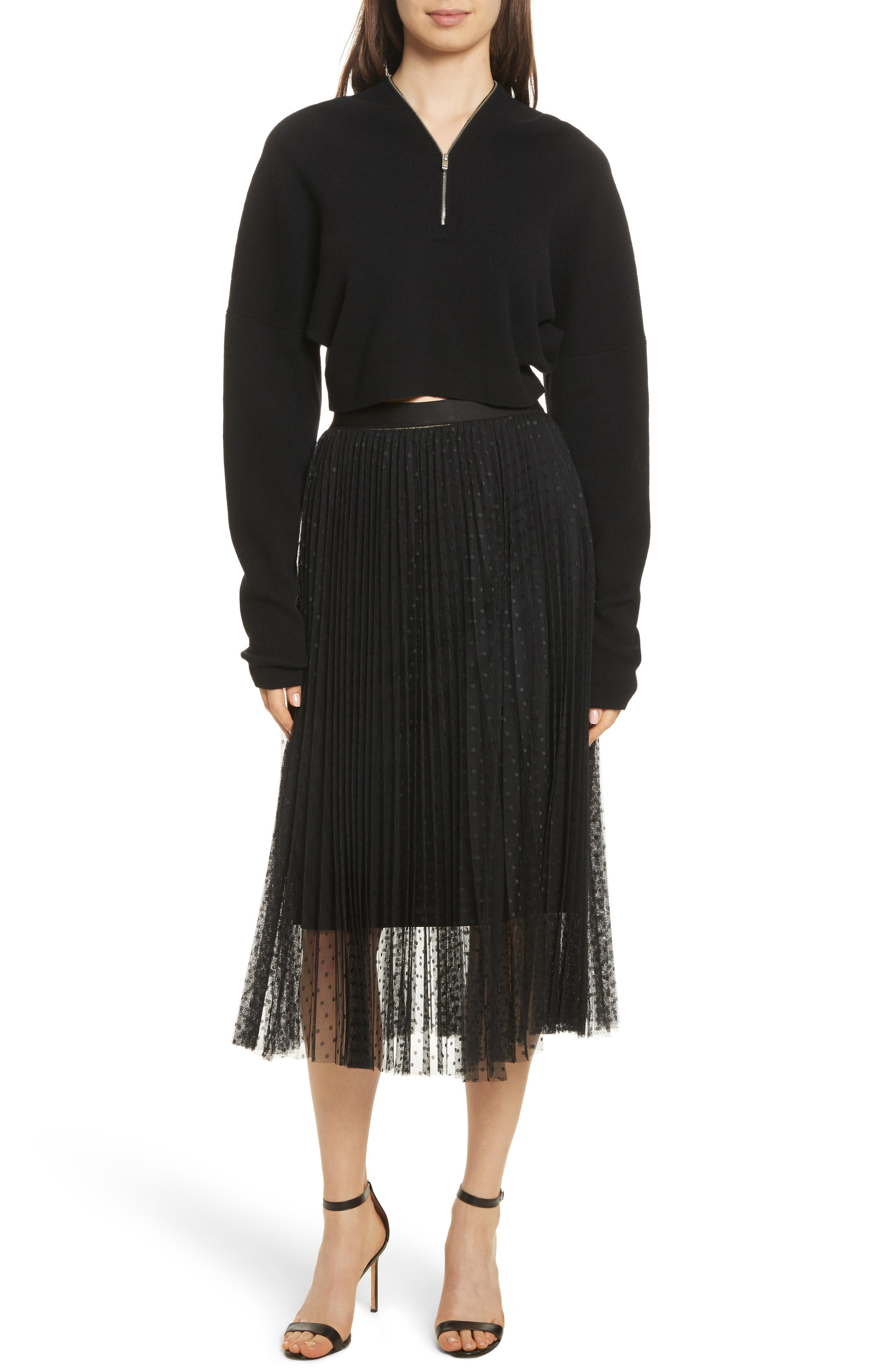 Pleated Polka Dot Mesh Midi Skirt,                             Alternate thumbnail 7, color,                             001