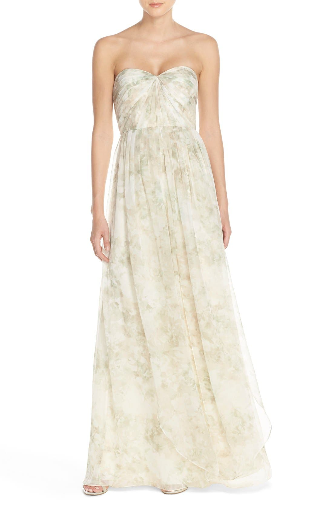 Nyla Floral Print Convertible Strapless Chiffon Gown,                             Main thumbnail 2, color,