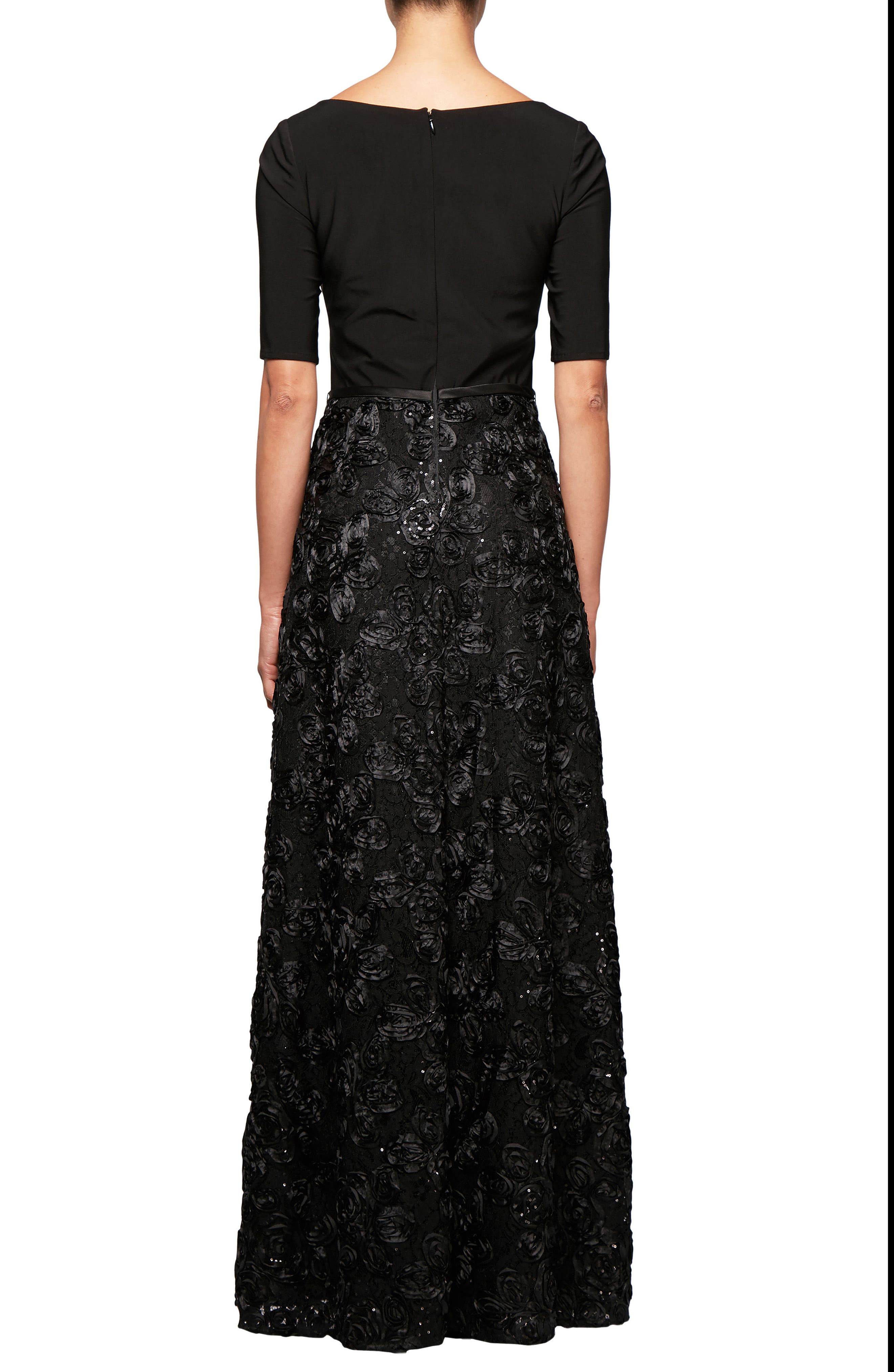 Embellished Rosette A-Line Gown,                             Alternate thumbnail 2, color,