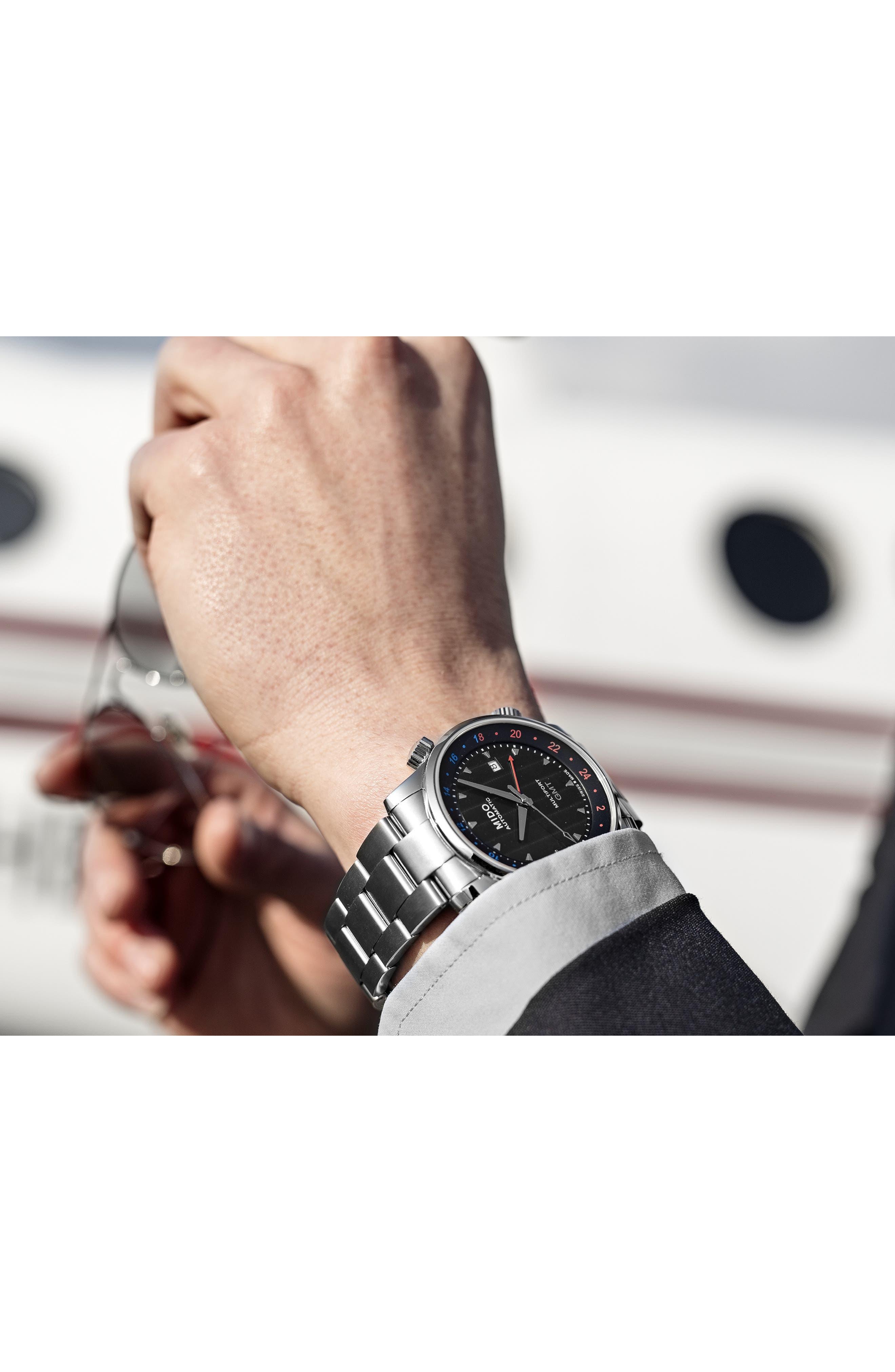 Multifort Automatic Bracelet Watch,                             Alternate thumbnail 4, color,                             SILVER/ BLACK/ SILVER
