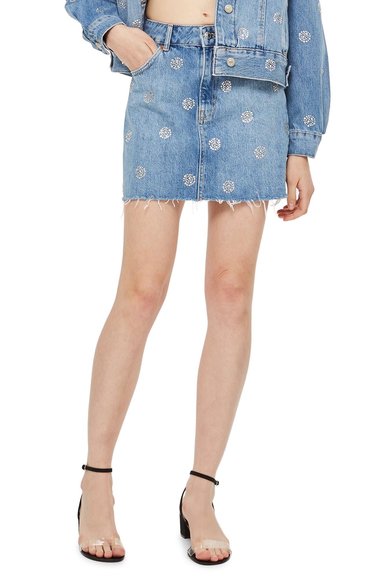Topshop Diamante Polka Dot Nonstretch Denim Skirt, US (fits like 0) - Blue