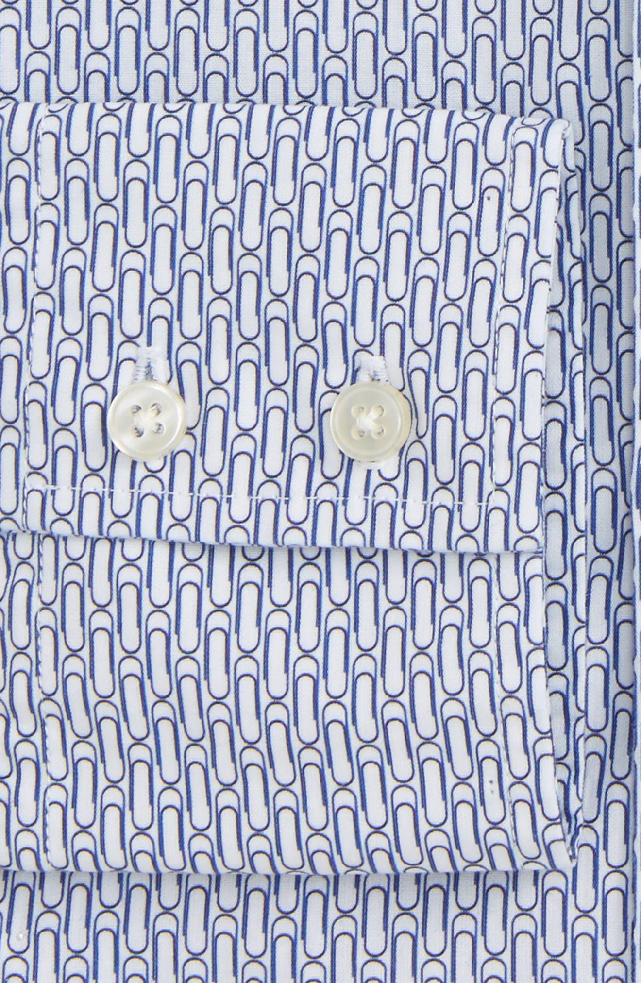 Trim Fit Paper Clip Print Dress Shirt,                             Alternate thumbnail 2, color,                             429