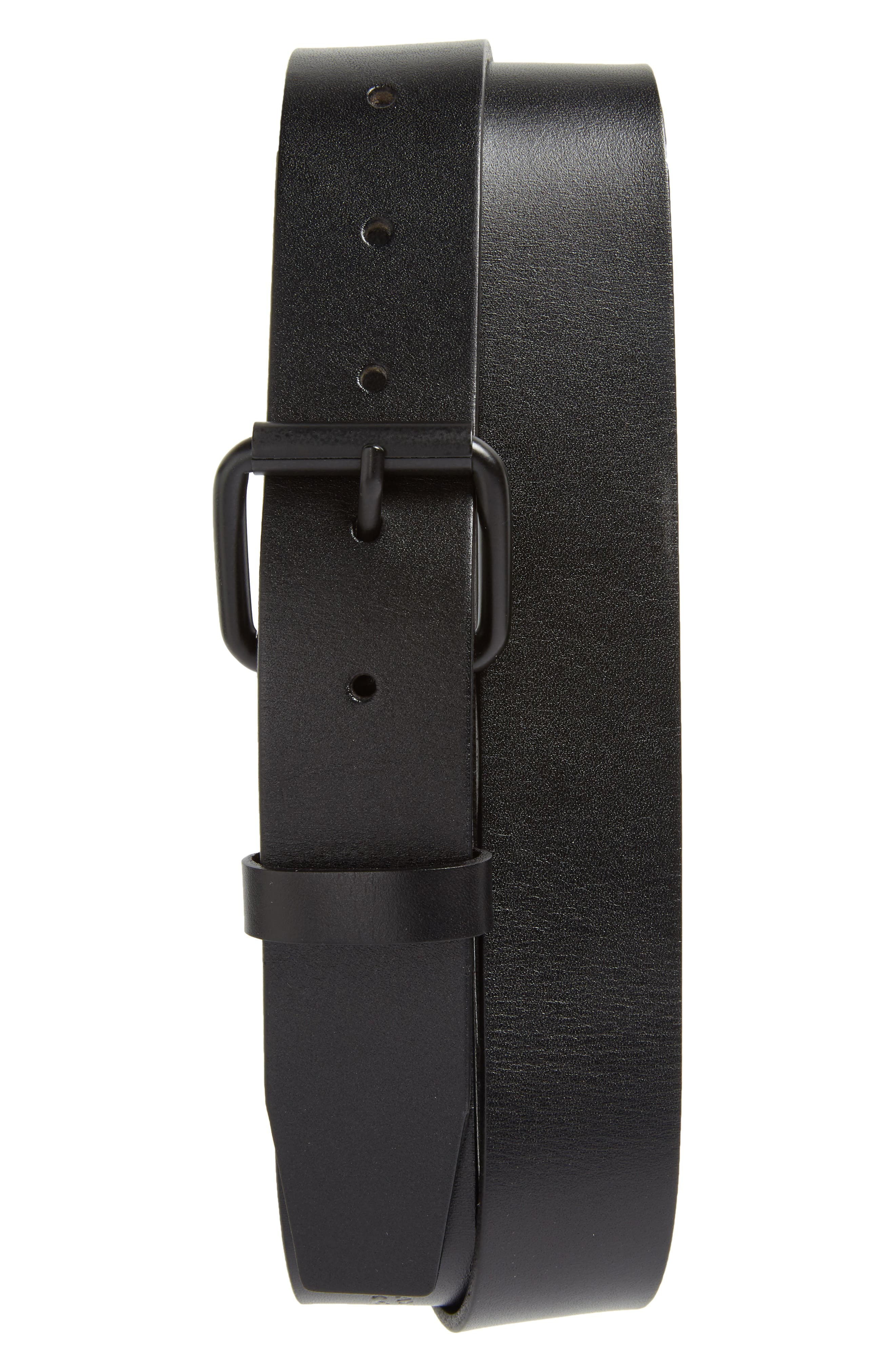 Rockaway Leather Belt,                         Main,                         color, BLACK