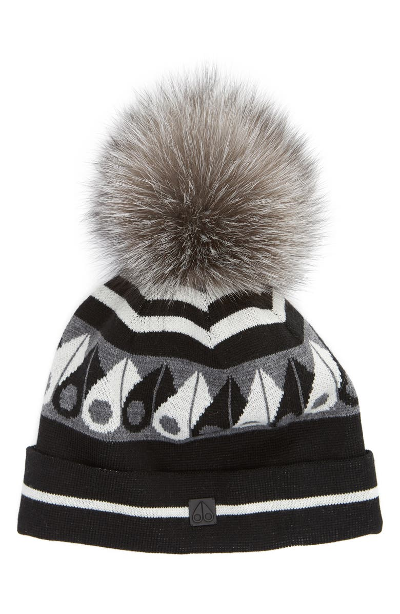 Moose Knuckles CANUK TOQUE WITH REMOVABLE GENUINE FOX FUR POM - BLACK