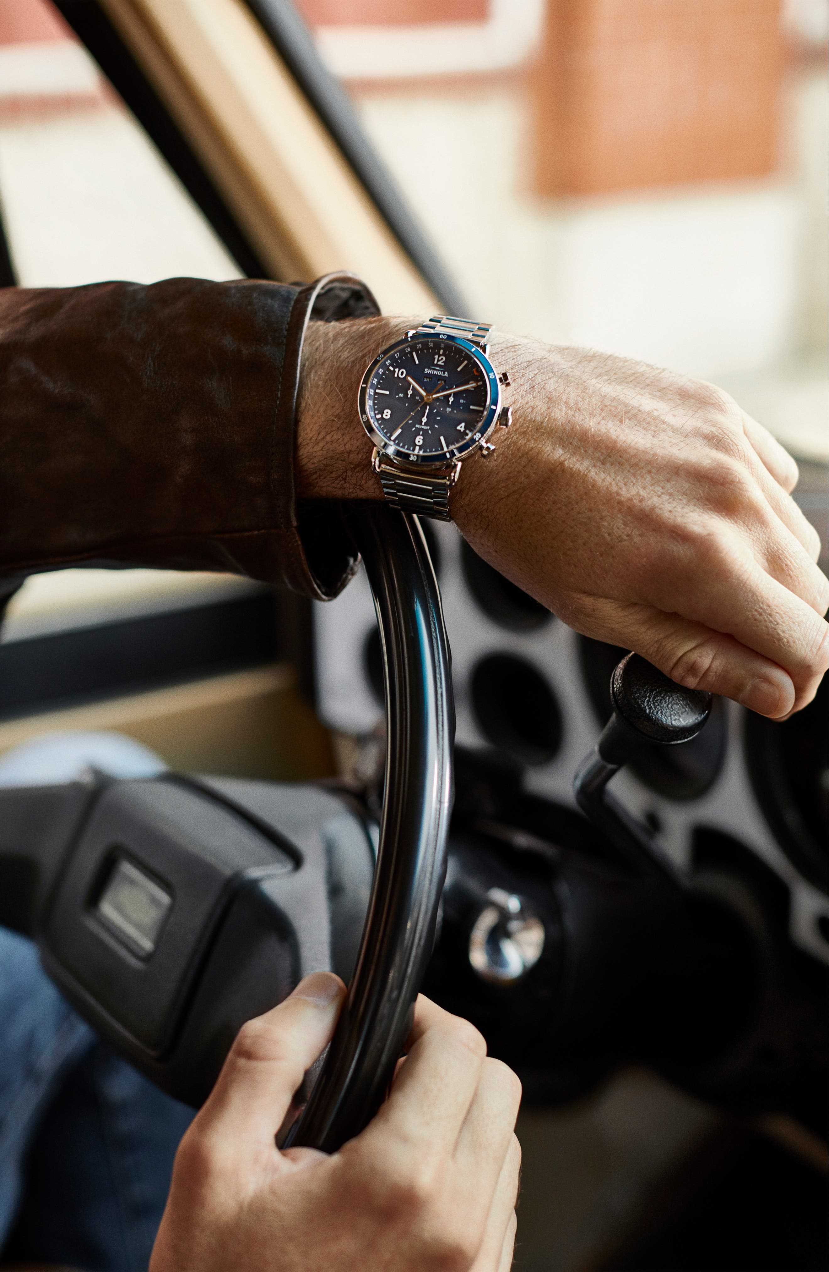 The Canfield Chrono Bracelet Watch, 45mm,                             Alternate thumbnail 7, color,                             SILVER/ MIDNIGHT BLUE/ SILVER