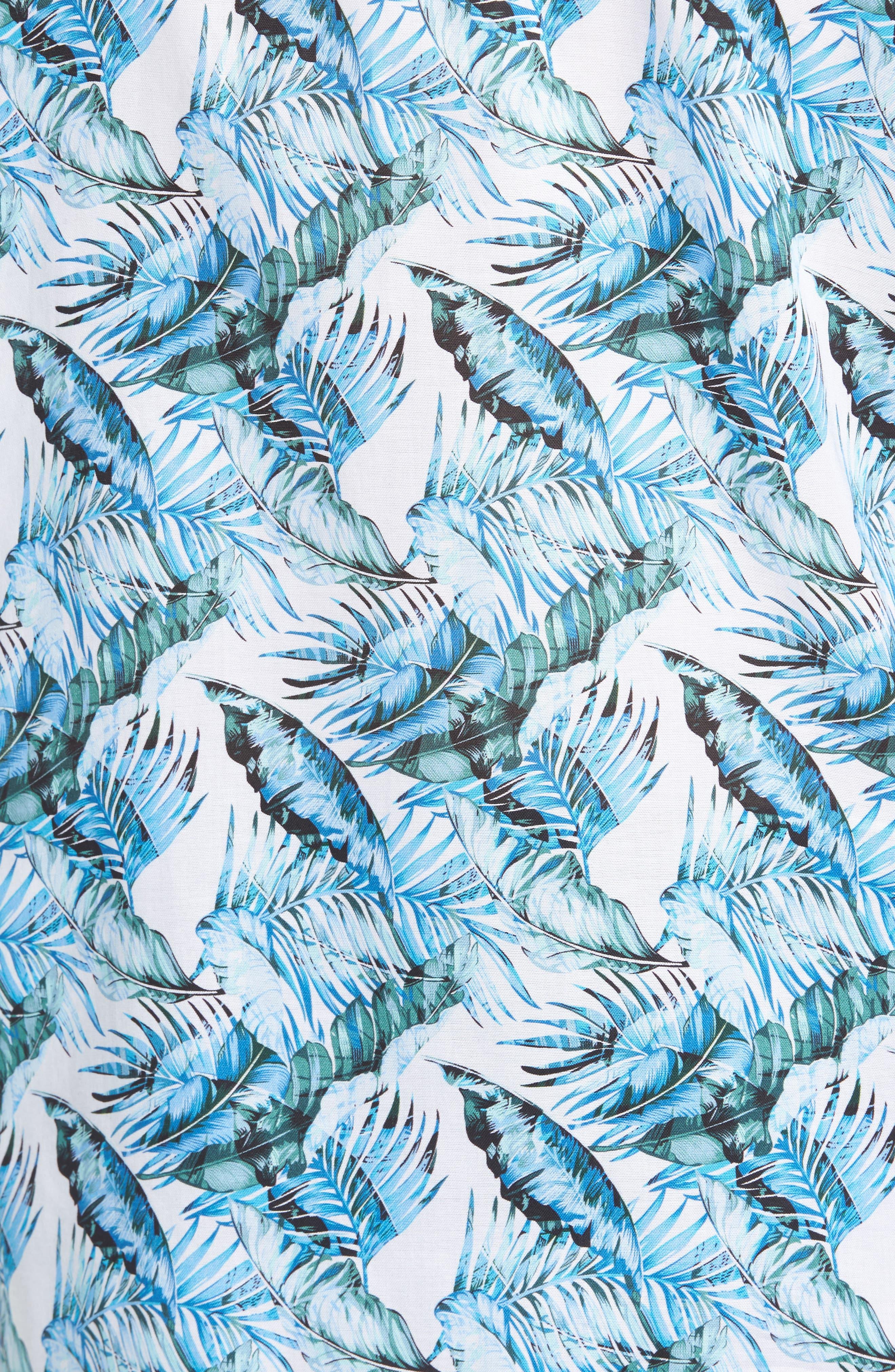 Classic Fit Palm Print Sport Shirt,                             Alternate thumbnail 5, color,                             440