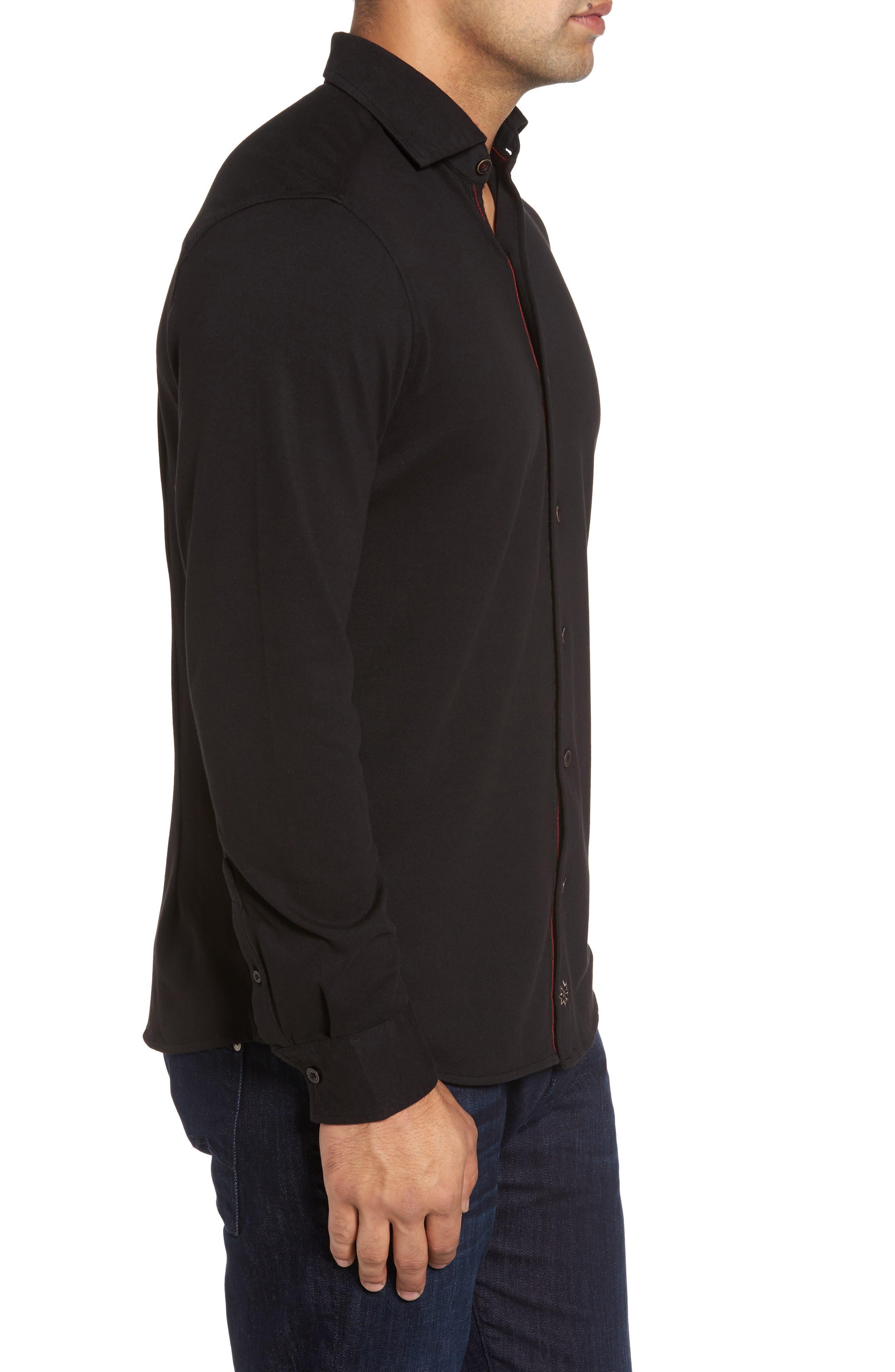 Shively Piqué Knit Sport Shirt,                             Alternate thumbnail 3, color,                             001