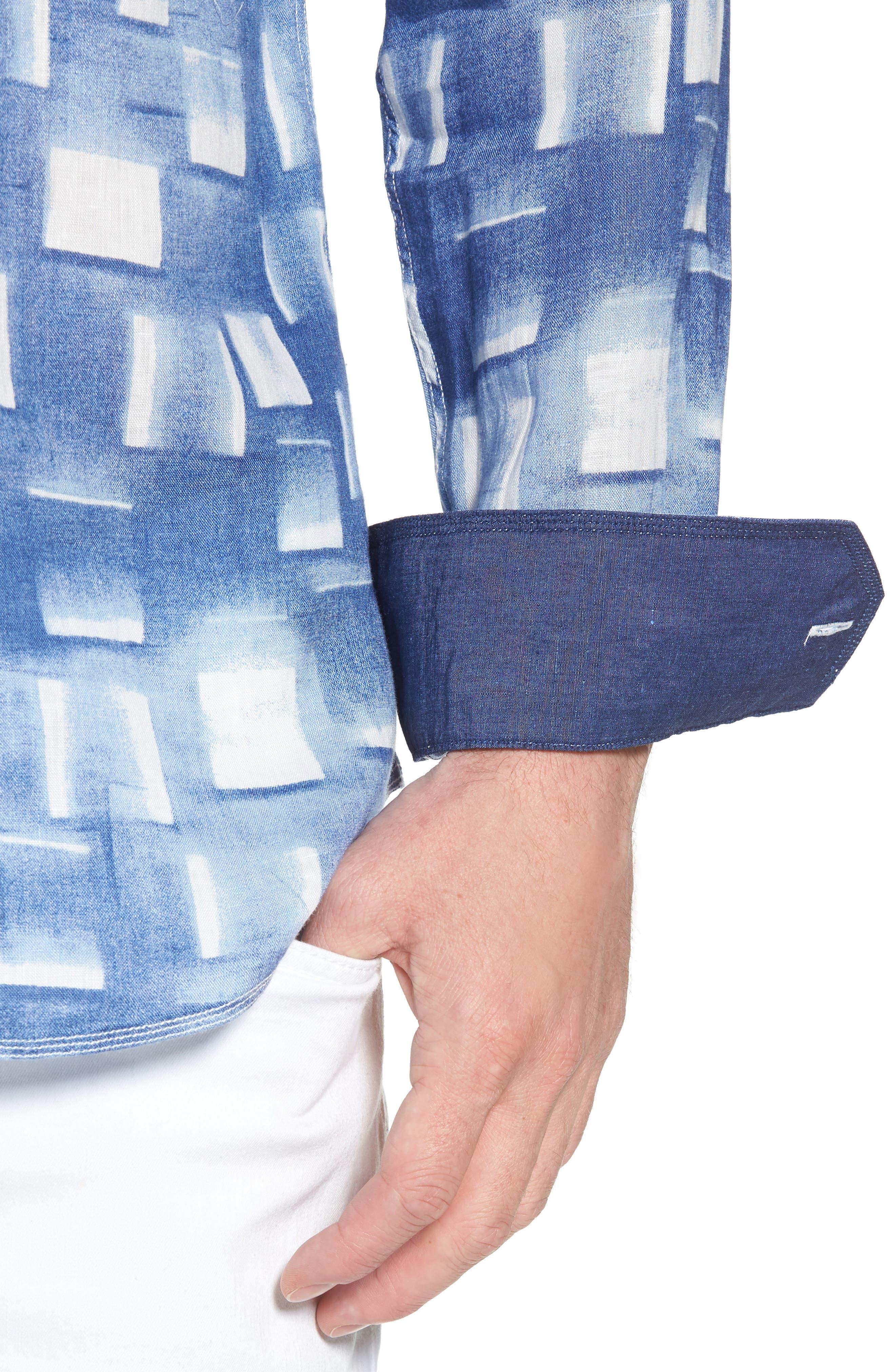 Shaped Fit Print Linen Sport Shirt,                             Alternate thumbnail 4, color,                             420