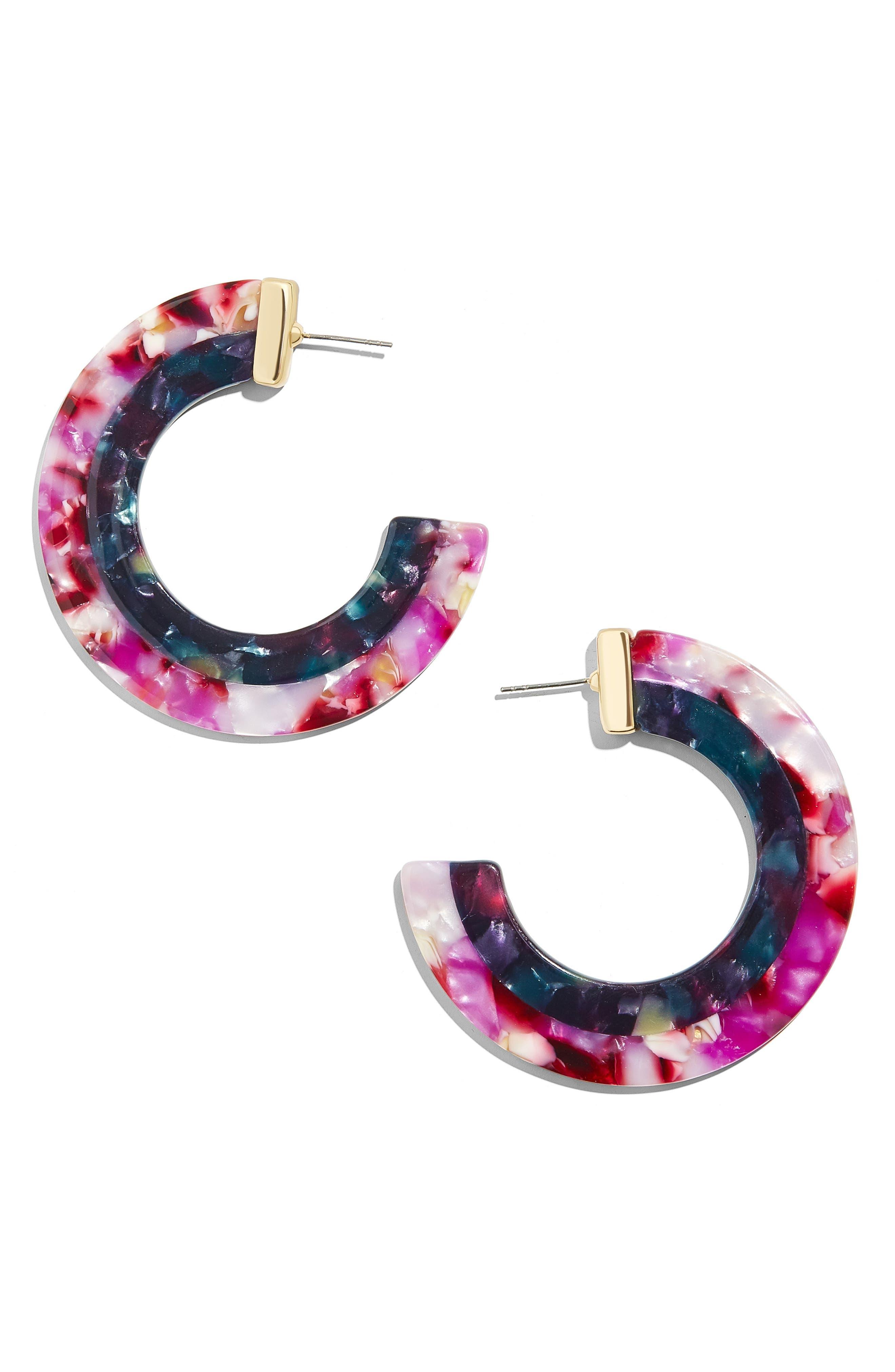 BAUBLEBAR Layered Color Resin Hoop Earrings, Main, color, PINK