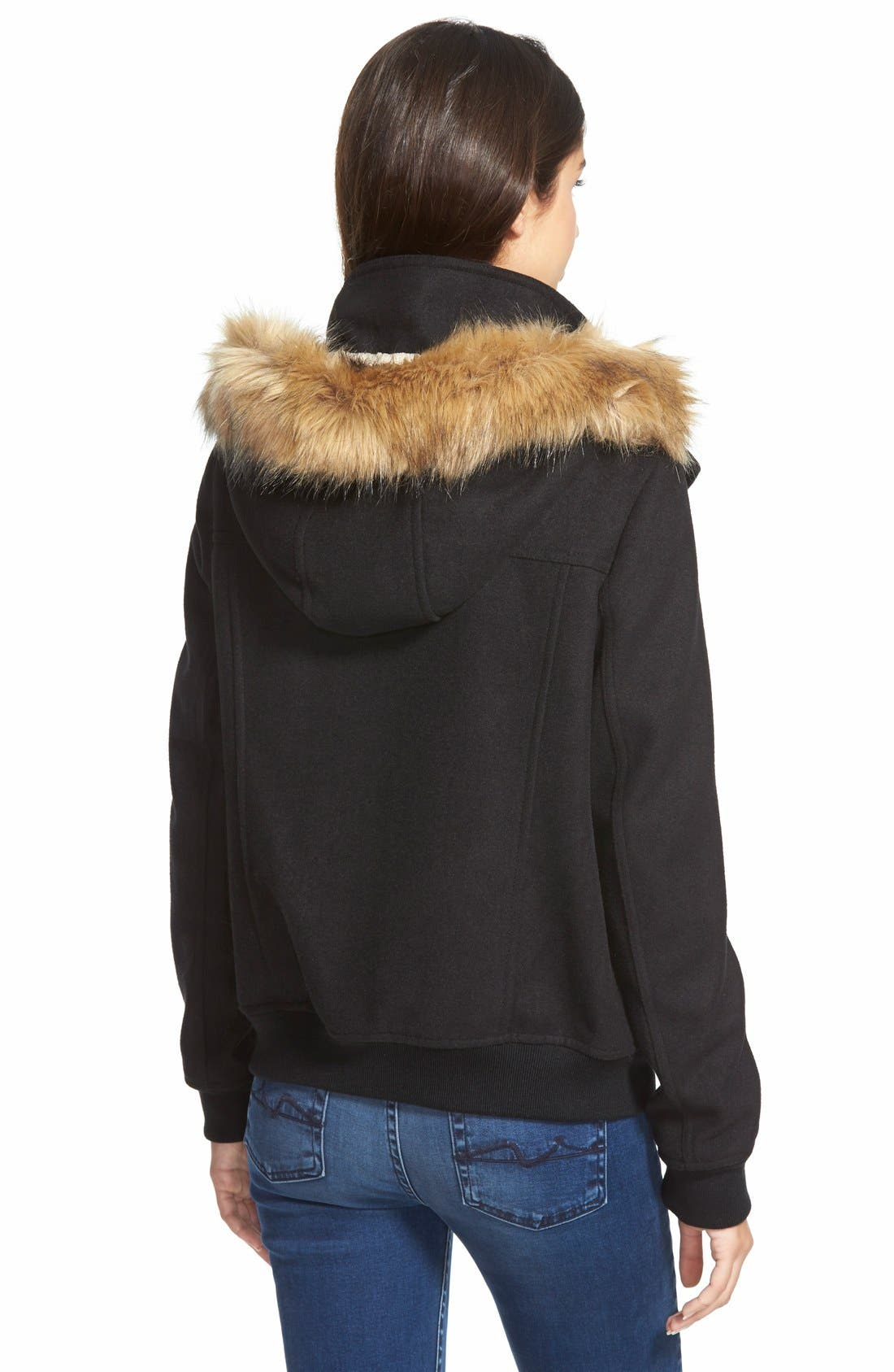 LEVI'S<SUP>®</SUP>,                             Hooded Bomber Jacket with Faux Fur & Faux Shearling Trim,                             Alternate thumbnail 3, color,                             001