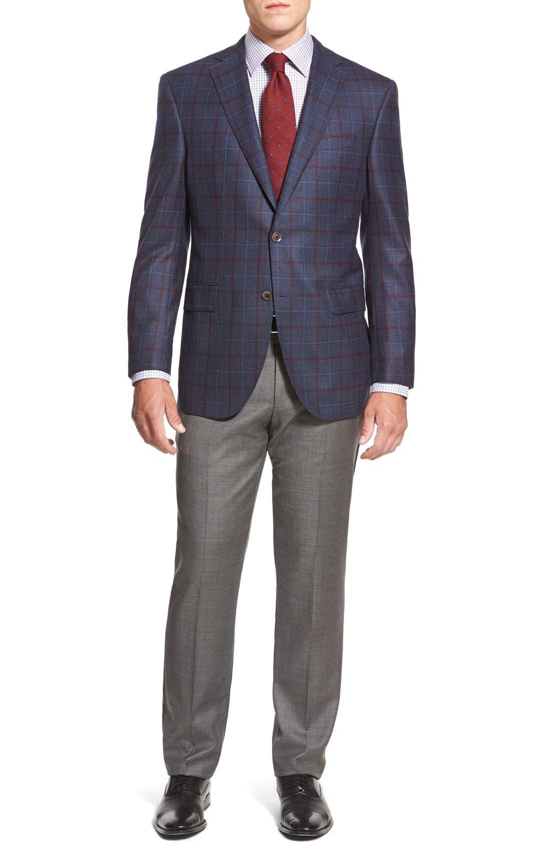 ZZDNUHUGO BOSS,                             BOSS HUGO BOSS 'Sharp' Flat Front Wool Trousers,                             Alternate thumbnail 4, color,                             001